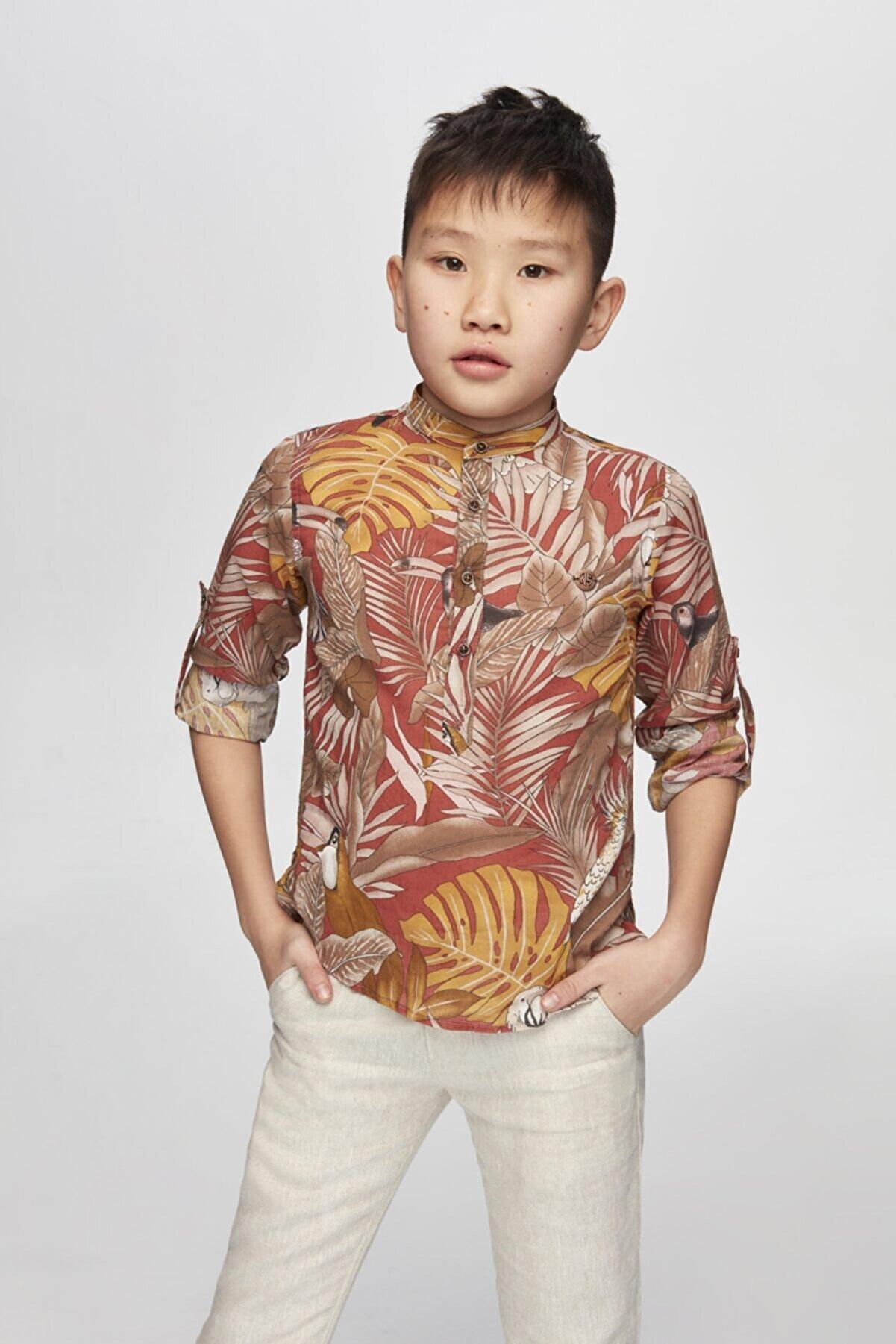 Nebbati Erkek Çocuk Desenli Gömlek