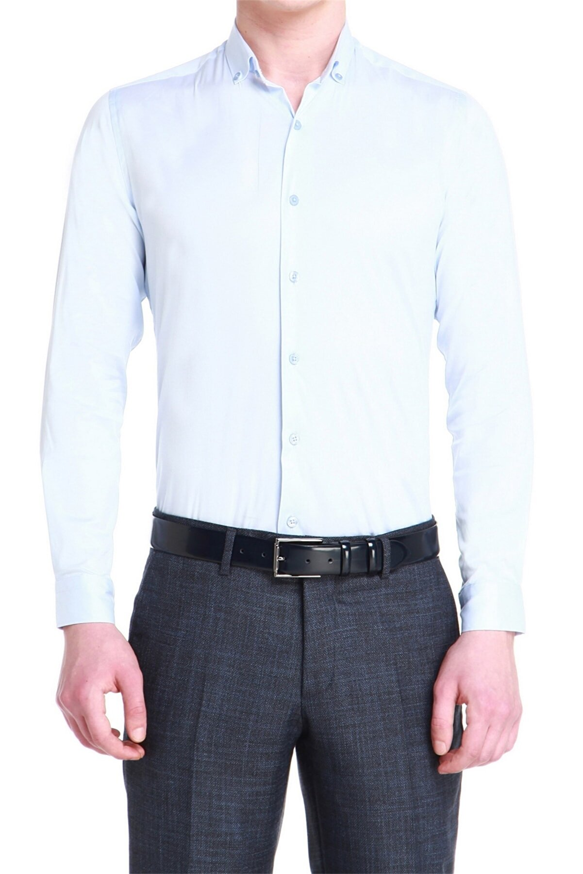 Efor Gk 536 Slim Fit Açık Mavi Klasik Gömlek
