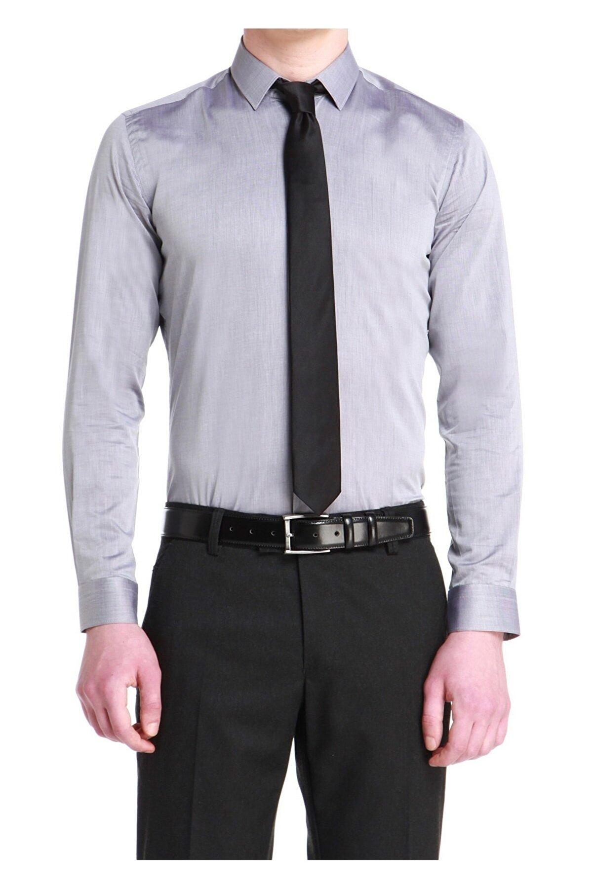 Efor Gk 532 Slim Fit Gri Klasik Gömlek