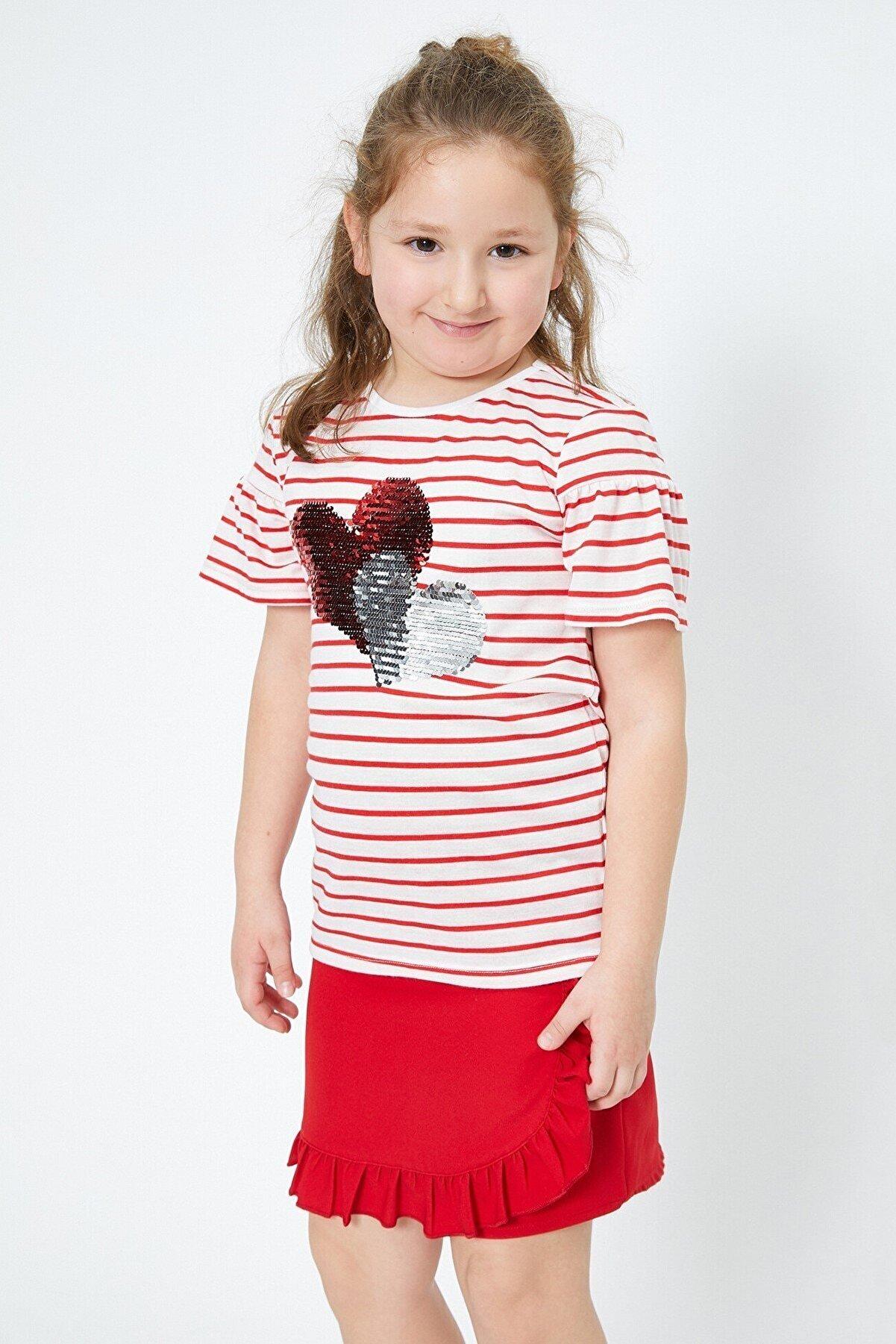 Koton Koton Kız Çocuk Pul Detaylı T-shirt