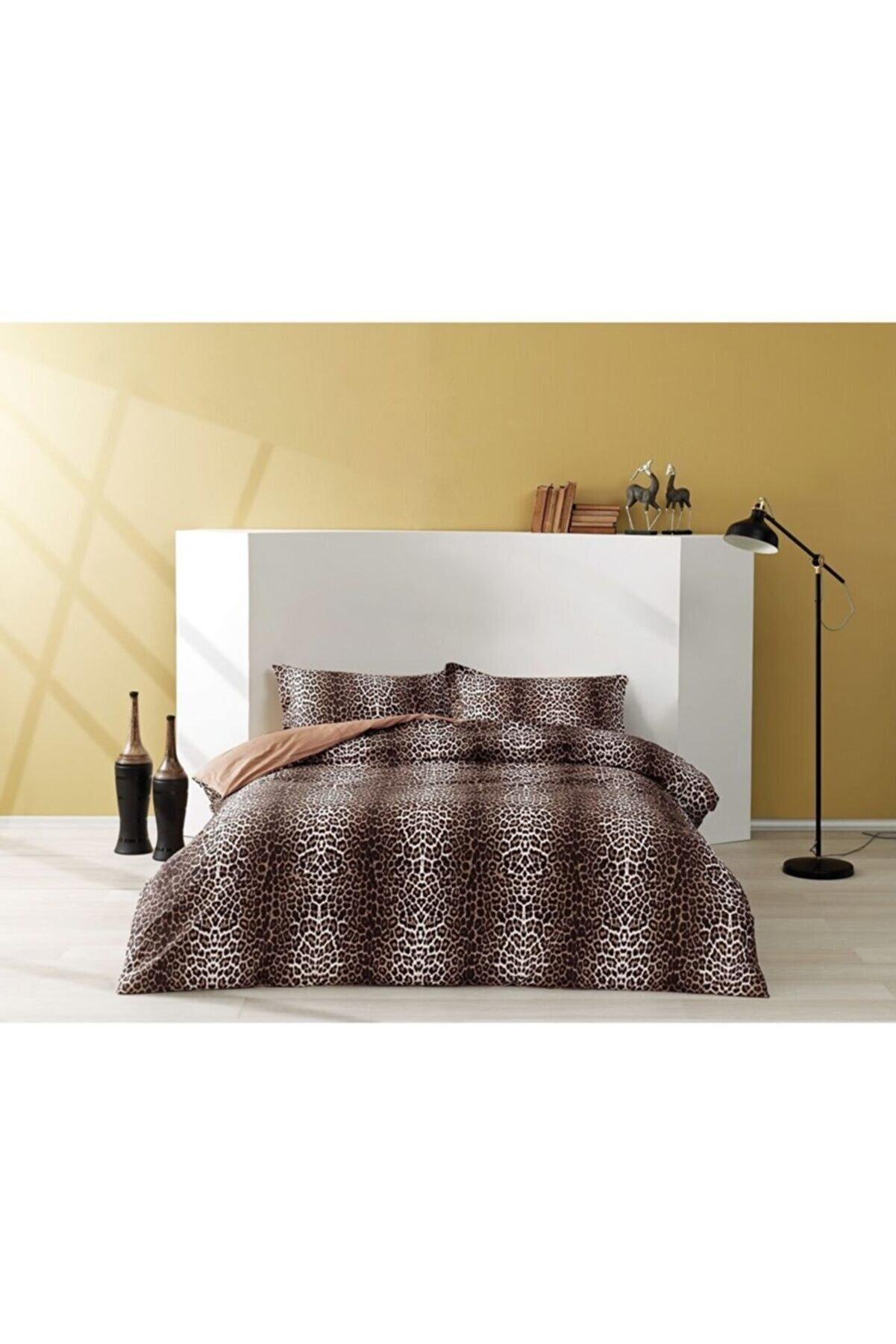 Taç Leopard Saten Çift Kişilik Nevresim Takımı Kahve