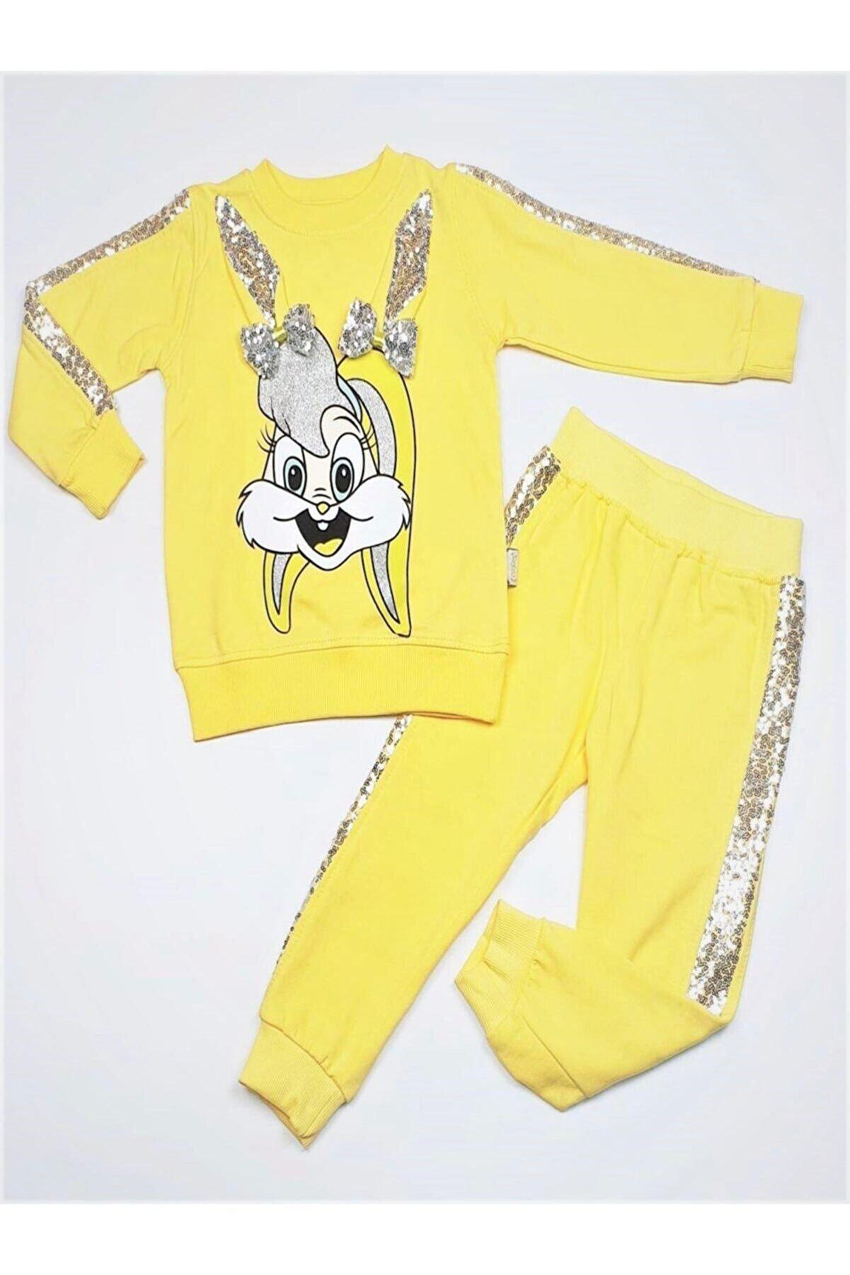 Limones Pullu Tavşan Kız Çocuk Eşofman Takım