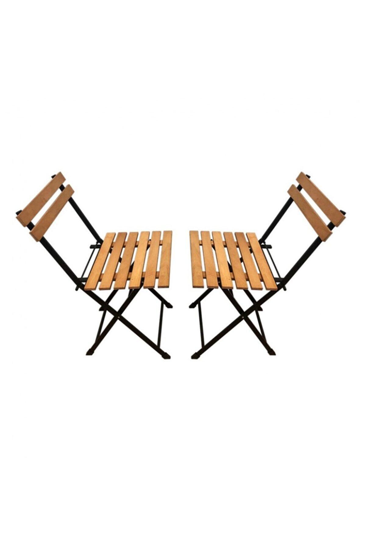 HEREVİM Balkon Bahçe Bistro Ceviz Çift Sandalye