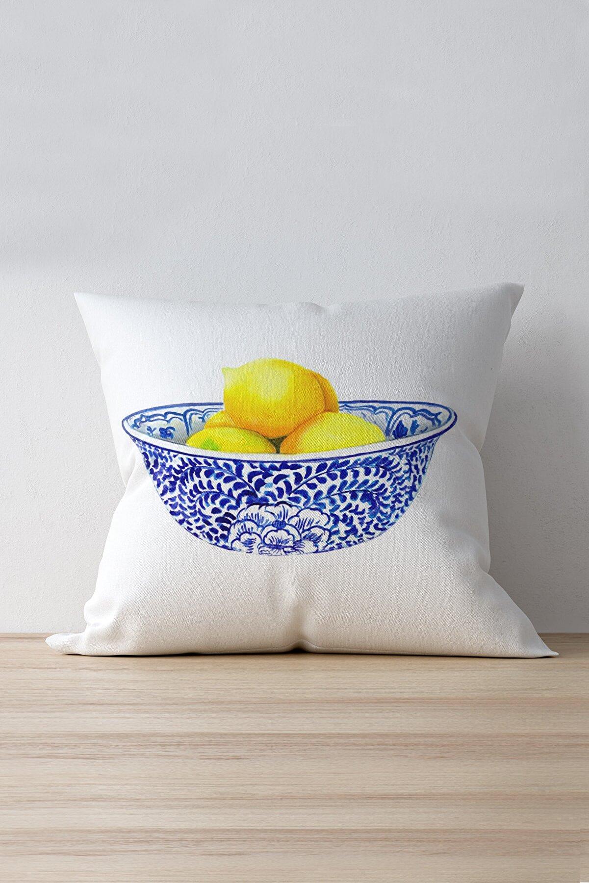 Cango Home Beyaz Sarı Limon Desenli Dijital Baskılı Kırlent Kılıfı - Oytyk899