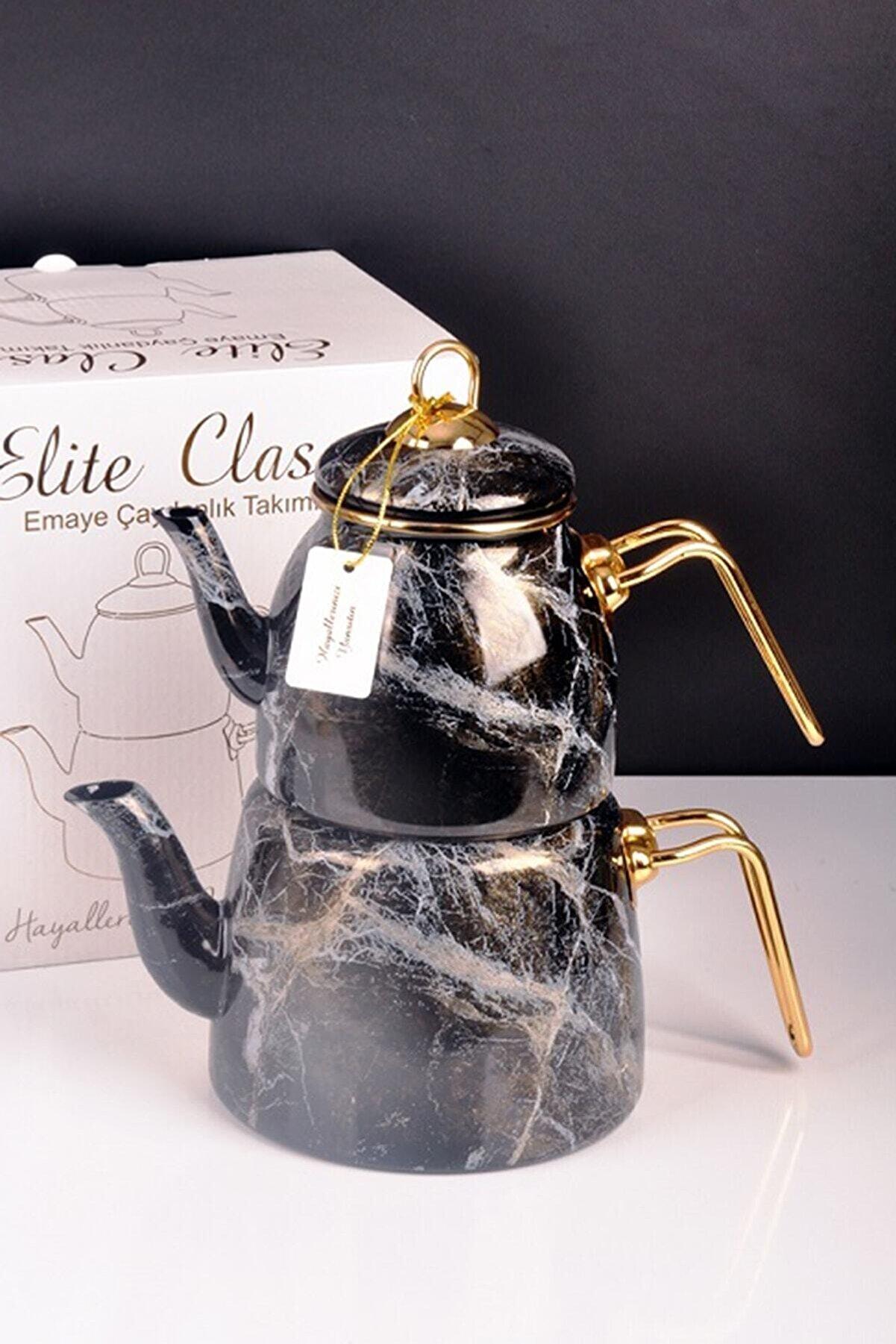 Bayev Siyah Elite Class Emaye Çaydanlık Desenli 200582