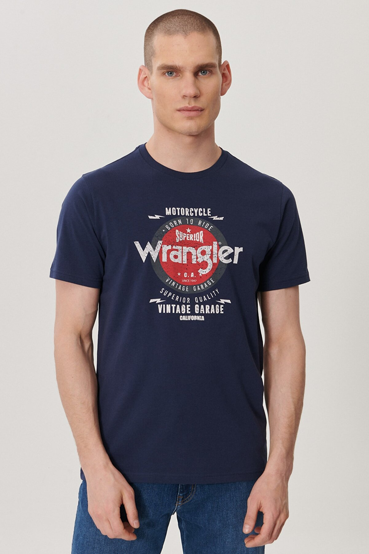Wrangler Erkek Lacivert Regular Fit Bisiklet Yaka T-Shirt