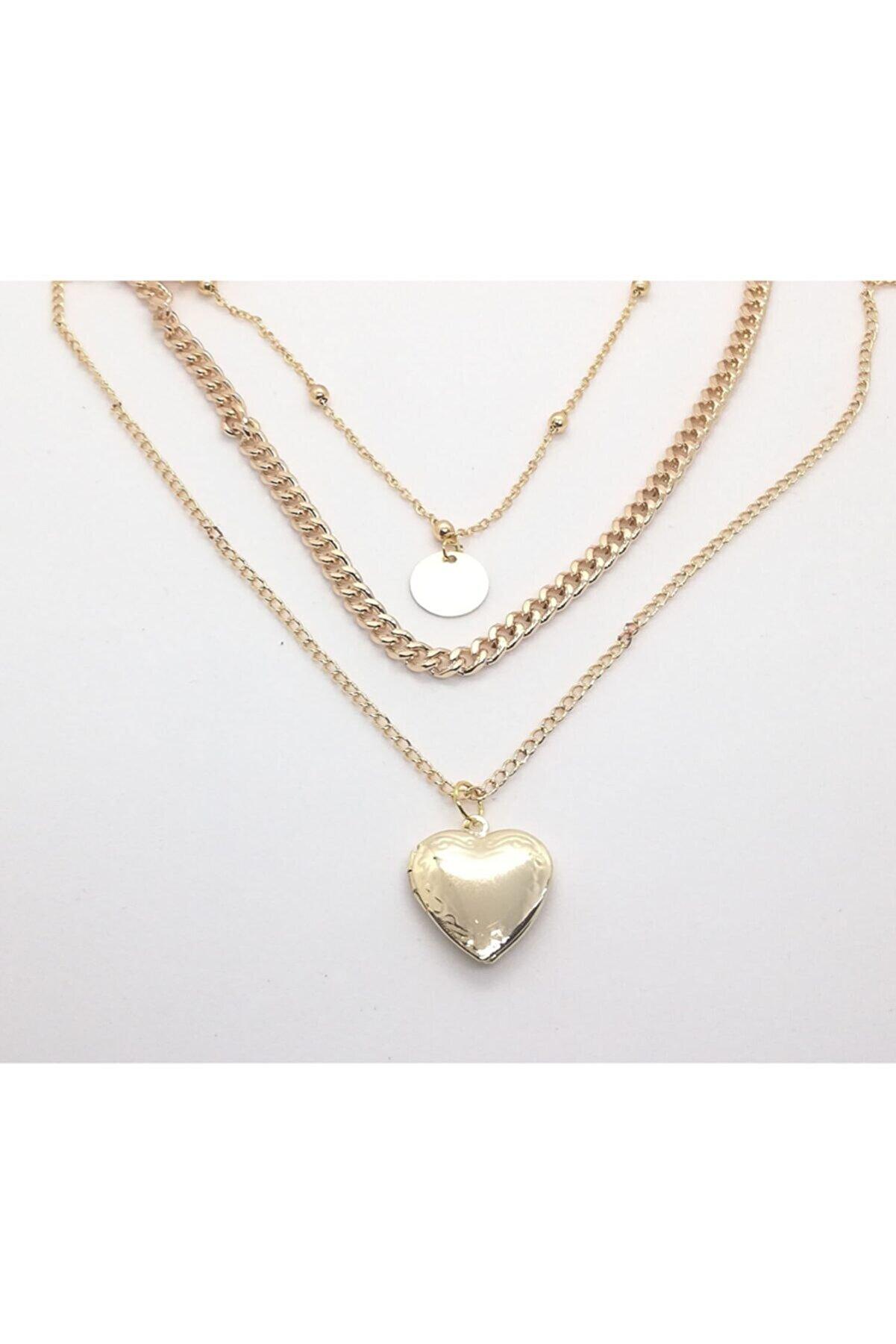 X-Lady Accessories Kadın Altın Sarısı Kalp Kapaklı Üçlü Kolye