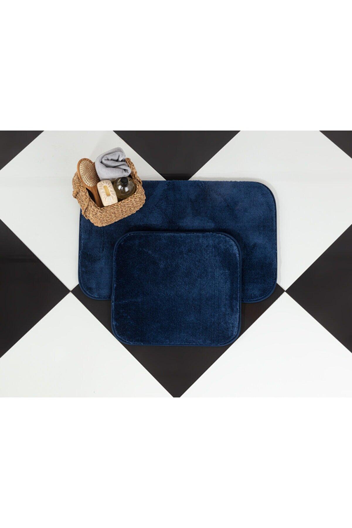 Madame Coco Carol 2'li Banyo Paspası - Indigo - 50x80 45x50 Cm