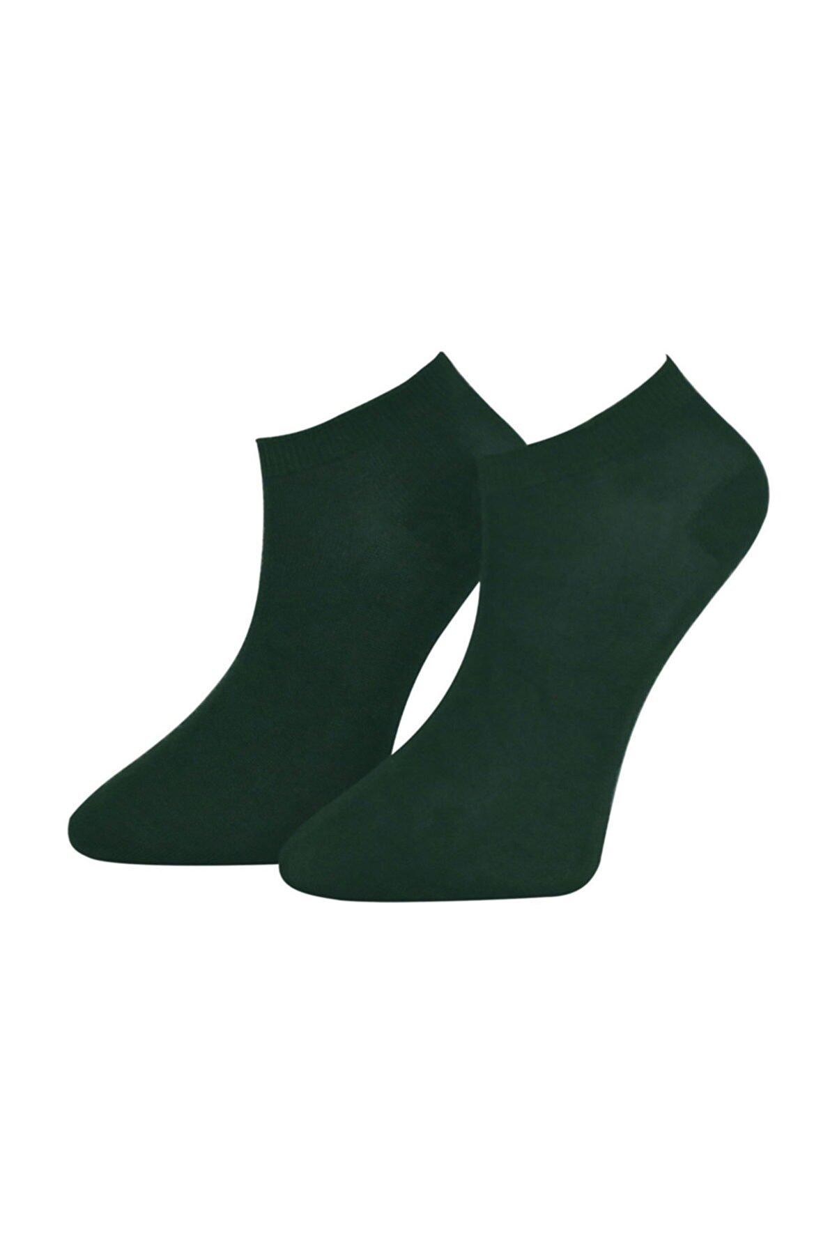ADABELLA Kadın Yeşil Bambu Dikişsiz Soket Kısa Çorap 12 Çift