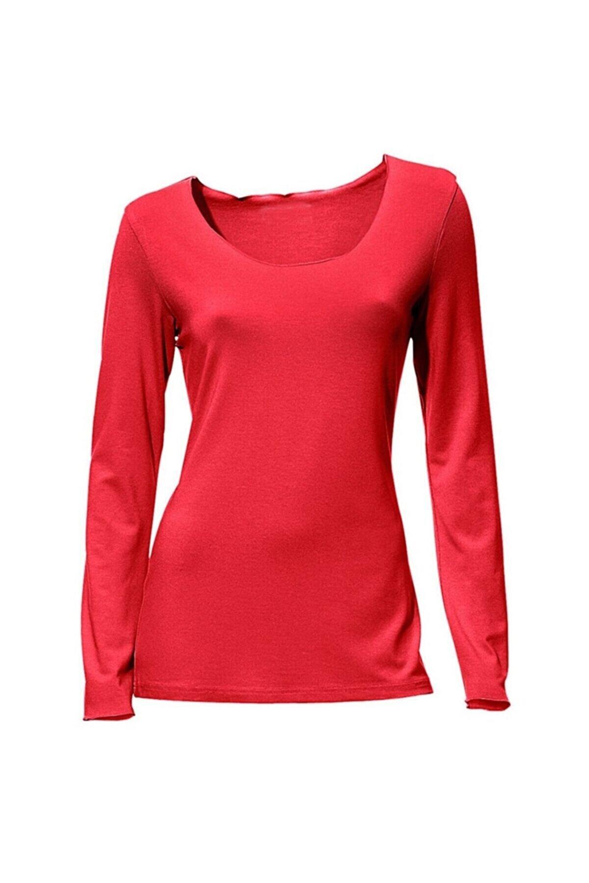 Bulalgiy Kadın Kırmızı Basic Uzun Kollu Tişört - Bga008243