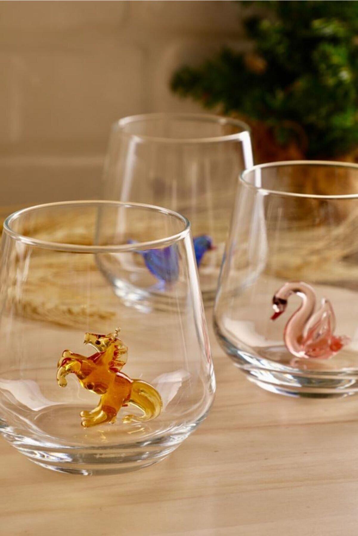 mozaikturk Hayvan Figürlü 6'lı Su Bardak Seti (Pastel Model )