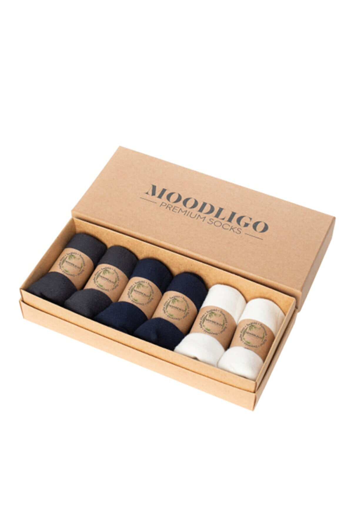 Moodligo Premium 6'lı Bambu Patik Erkek Çorap 2 Füme 2 Lacivert 2 Beyaz