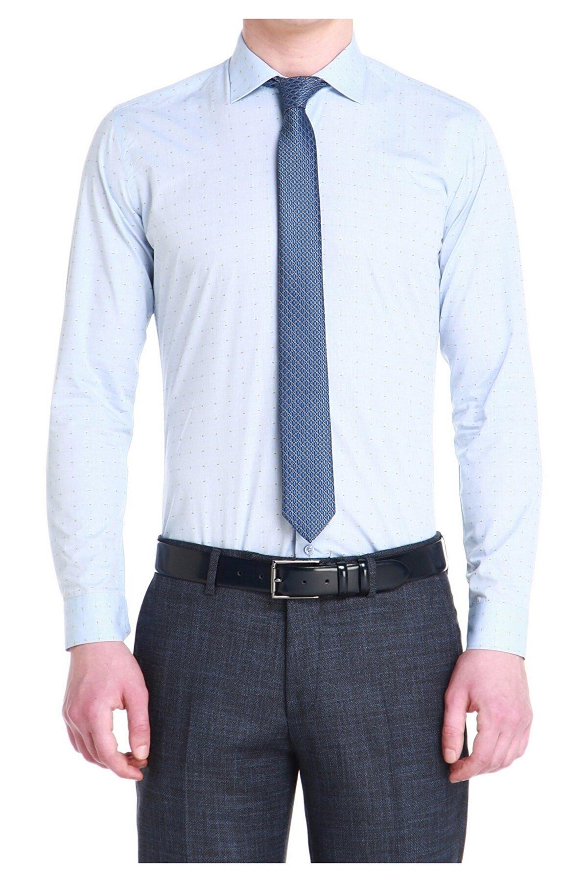 Efor Gk 531 Slim Fit Açık Mavi Klasik Gömlek