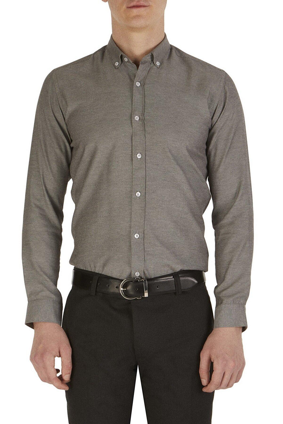 Efor Gk 517 Slim Fit Siyah-beyaz Klasik Gömlek