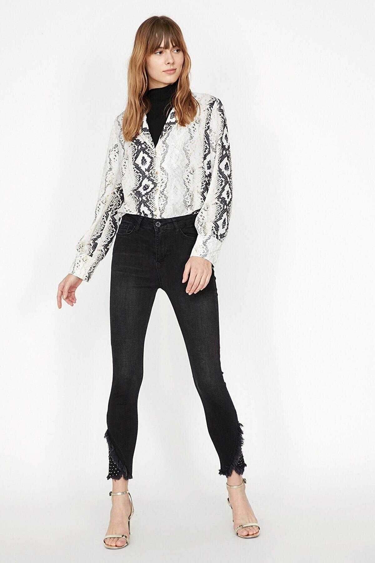 Koton Kadın Siyah Jeans 9KAK47001MD