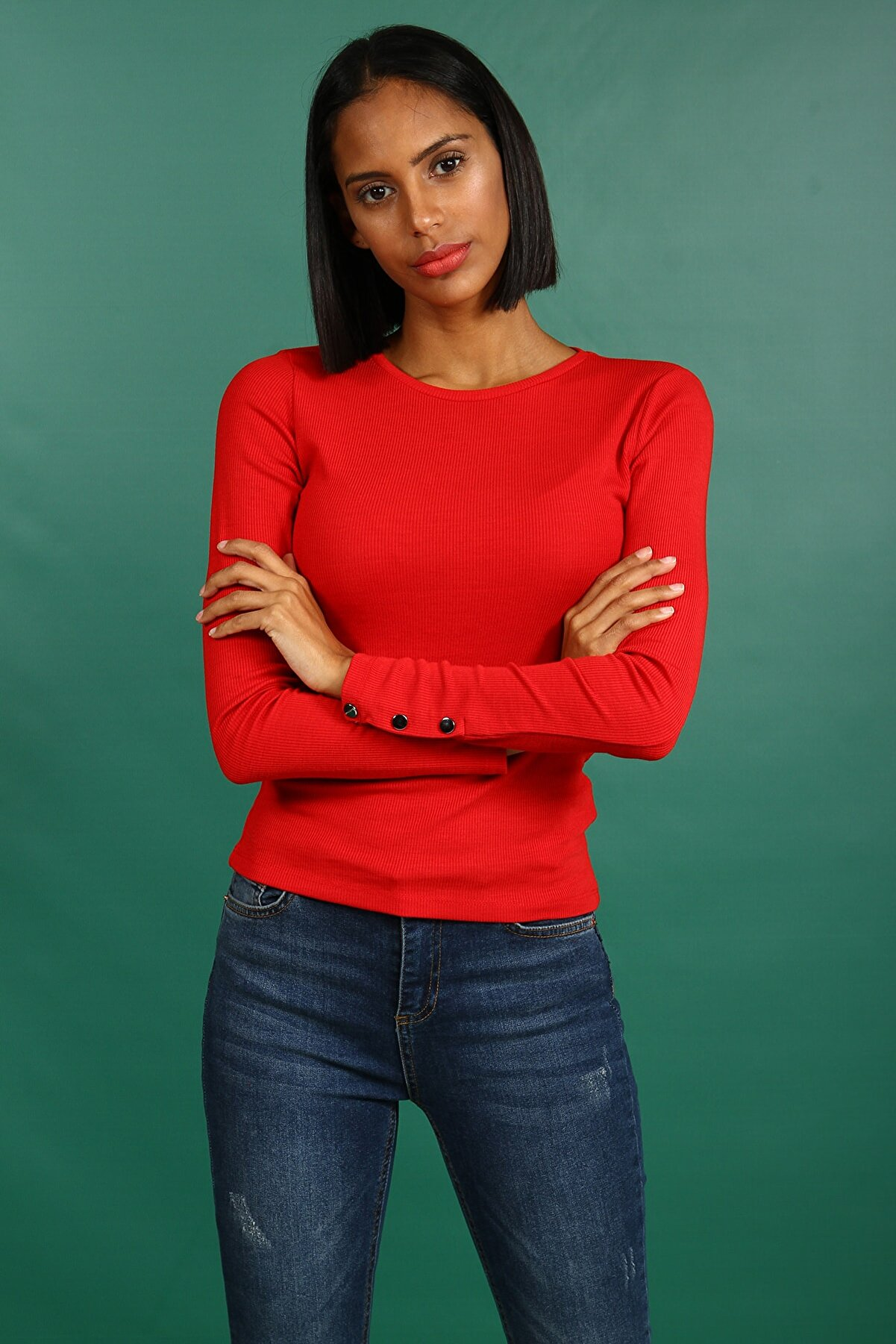 Collezione Kırmızı Kadın Kırmızı Spor Slim T-shirt Uzun Kol