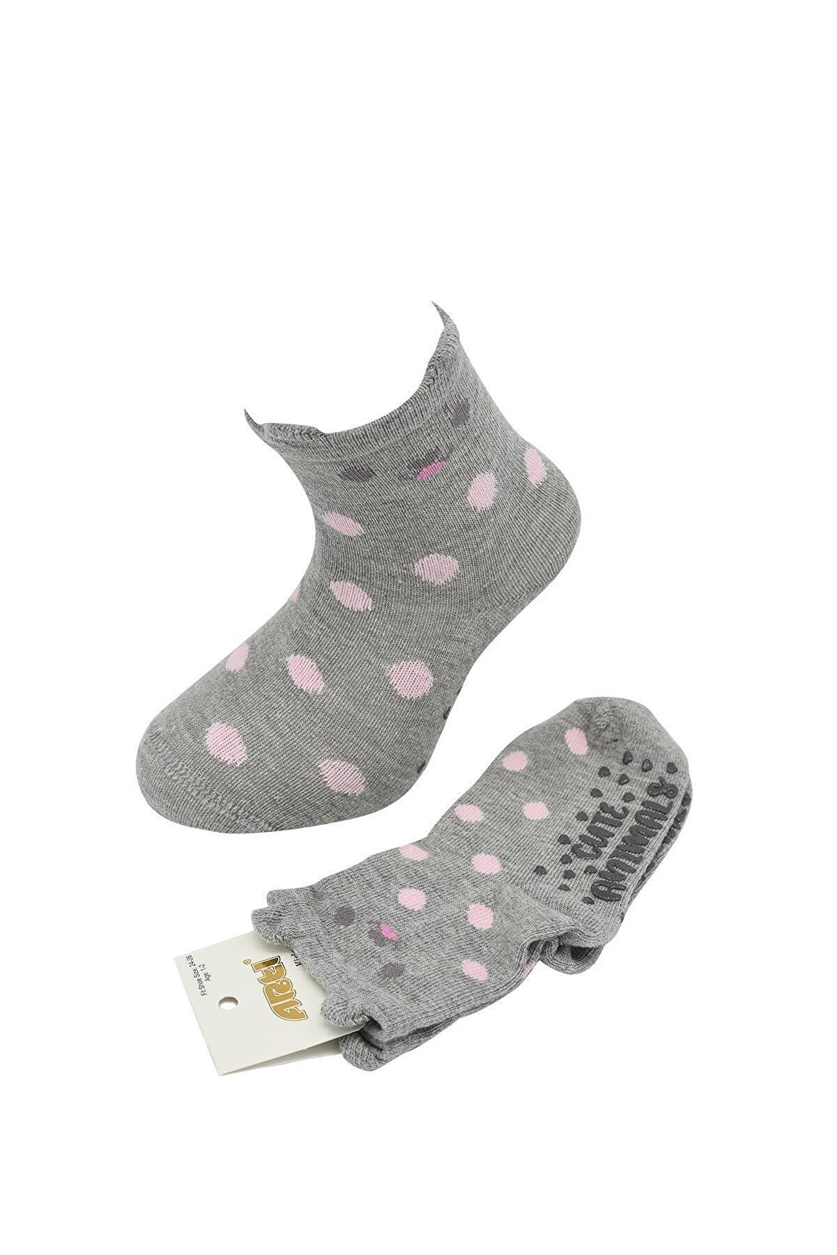 Artı Milkay Gri 3 Boyutlu Altı Baskılı Kız Çocuk Soket Çorap Cuteanımal-3