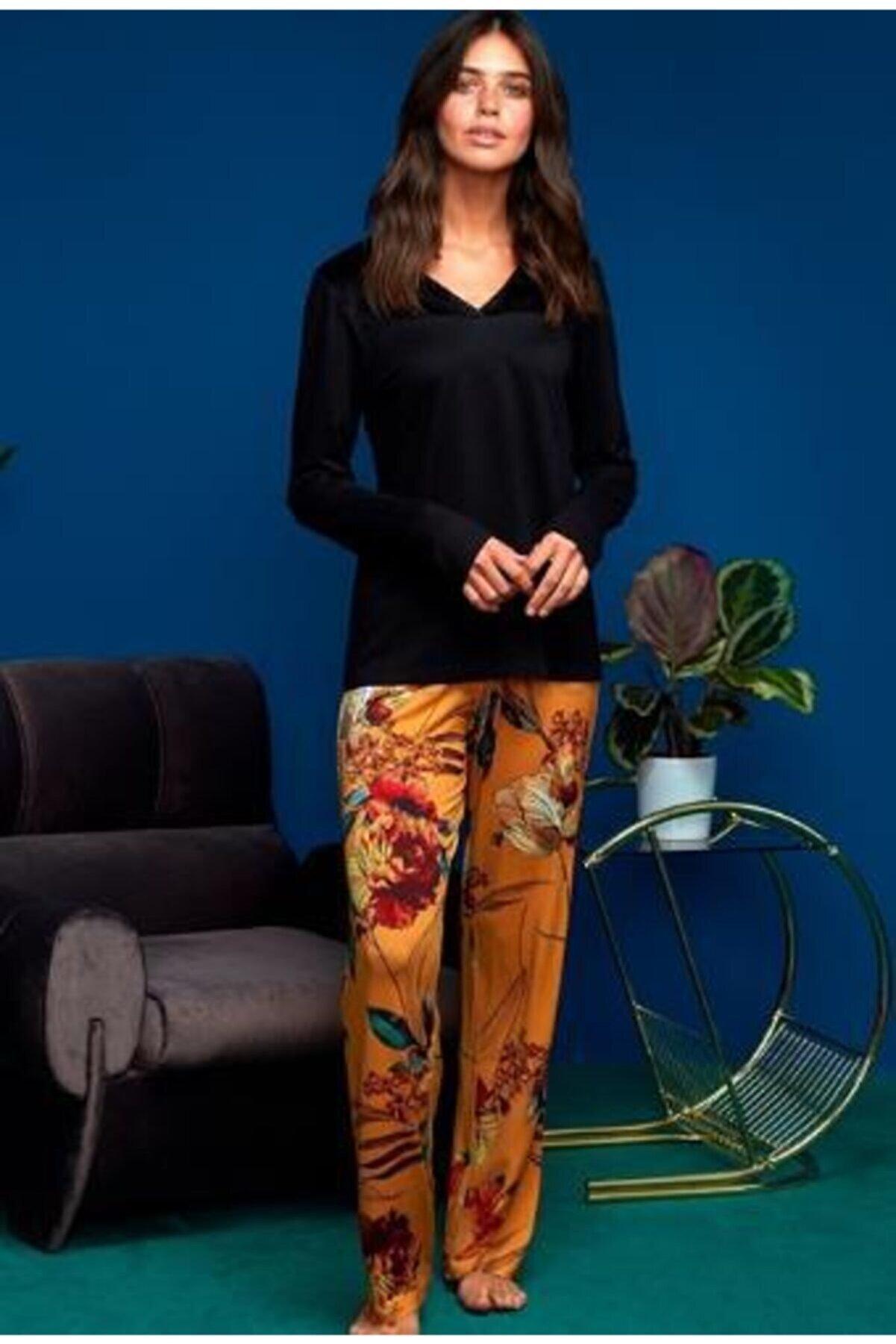 Penye Mood Penye Mood 8609 Kadın Pijama Takım Siyah