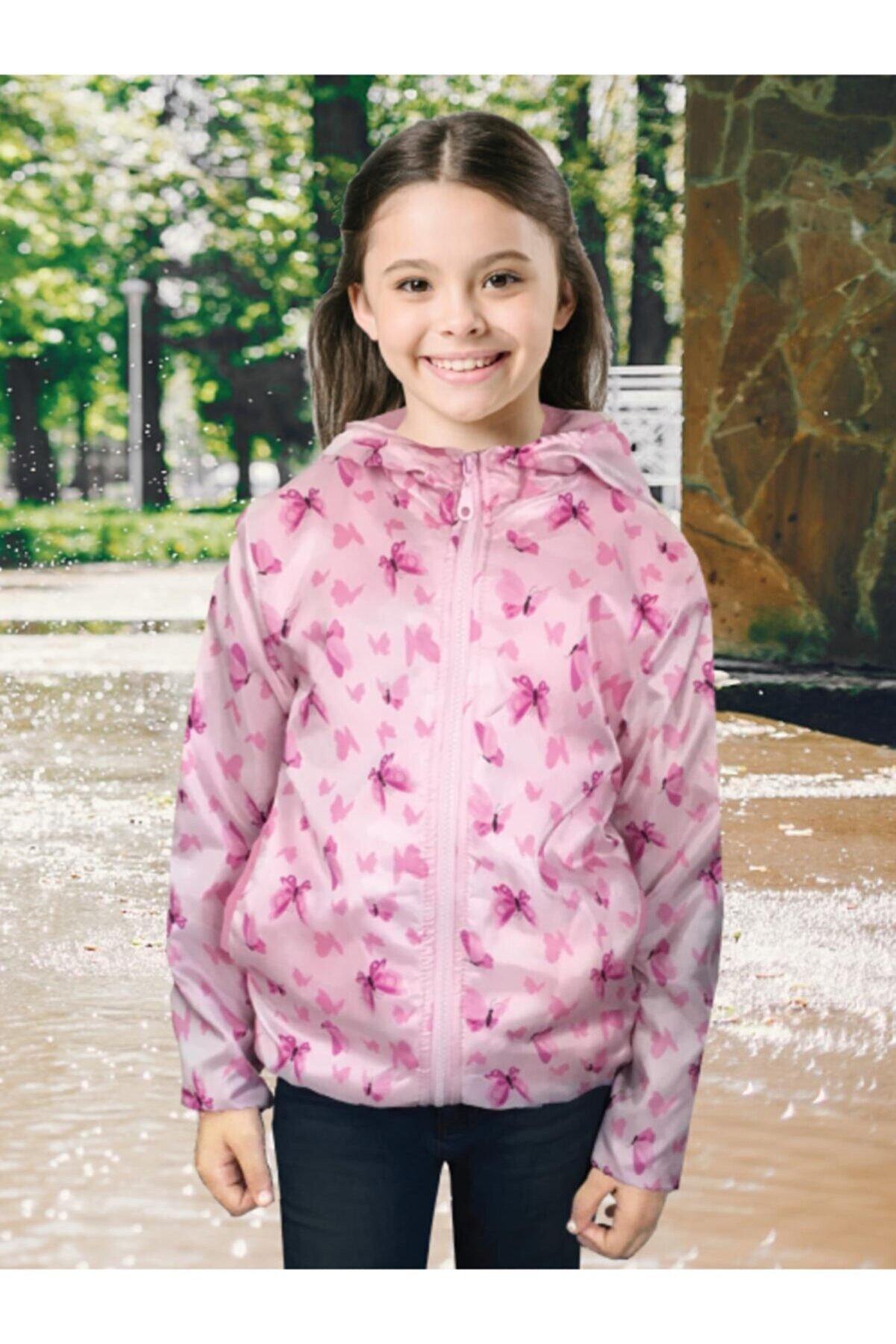 DOFİ Kız Çocuk Pembe Kelebek Desenli Yağmurluk