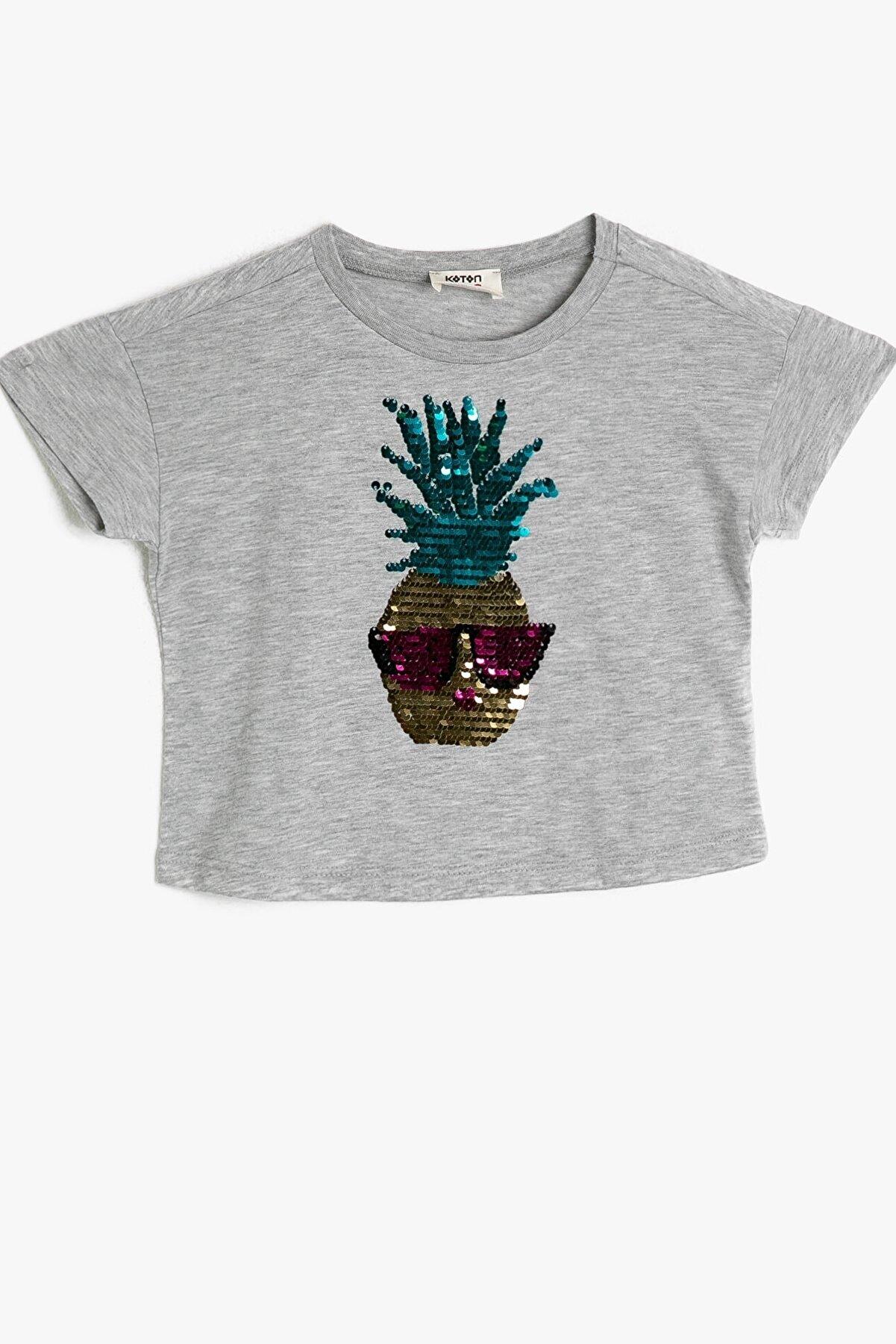 Koton Kız Çocuk Gri Koton Baskili T-shirt 0ykg17535ok