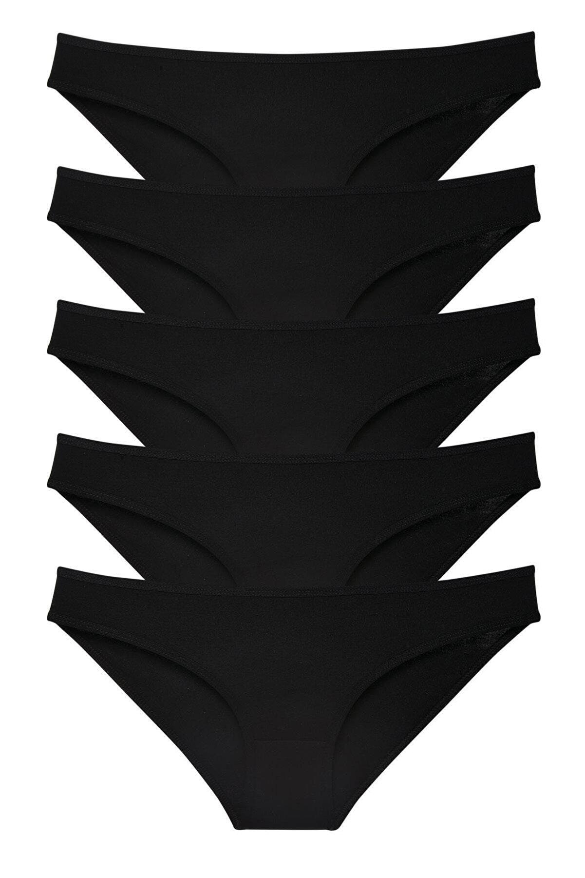 LadyMelex Kadın 5'li Siyah Klasik Slip Külot