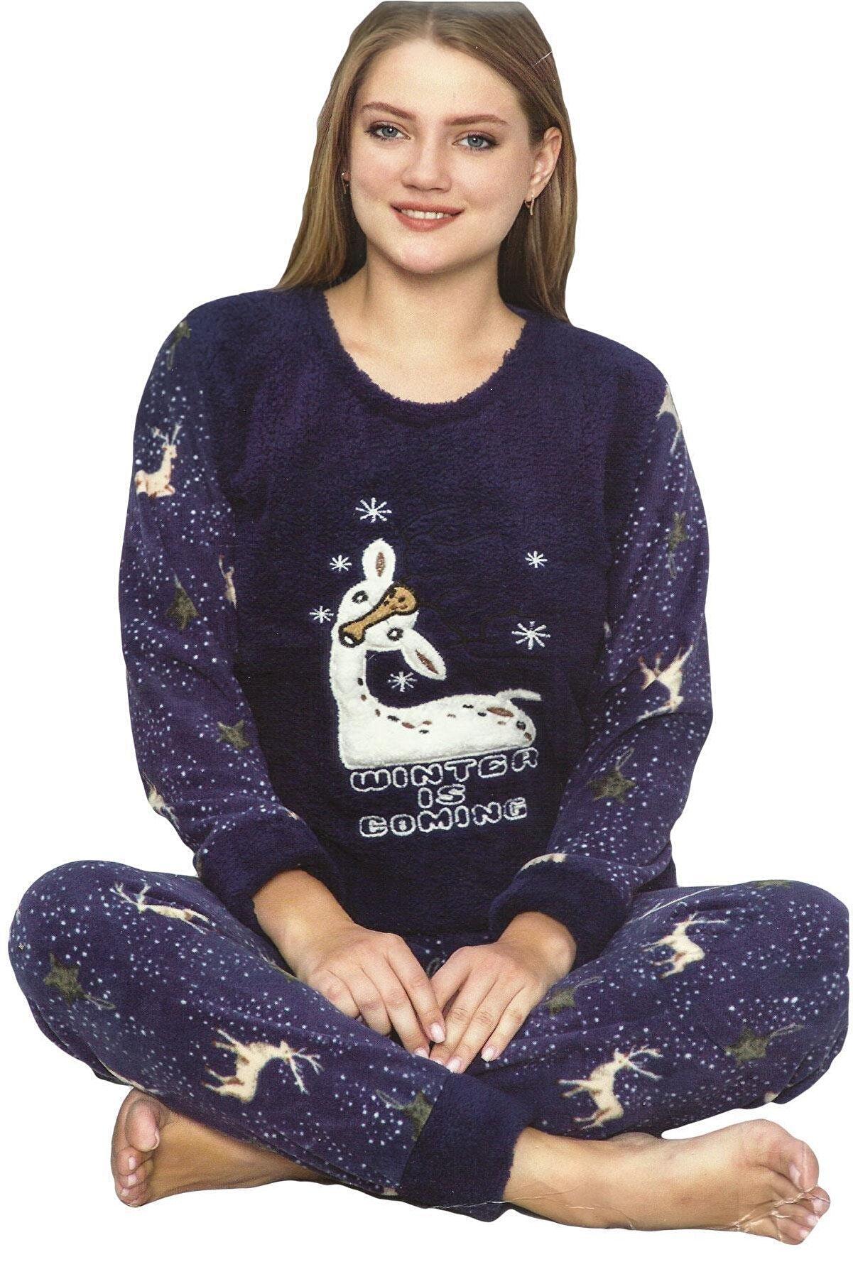 Sude Wic Welsoft Polar Peluş Uzun Kollu Kadın Pijama Takımı