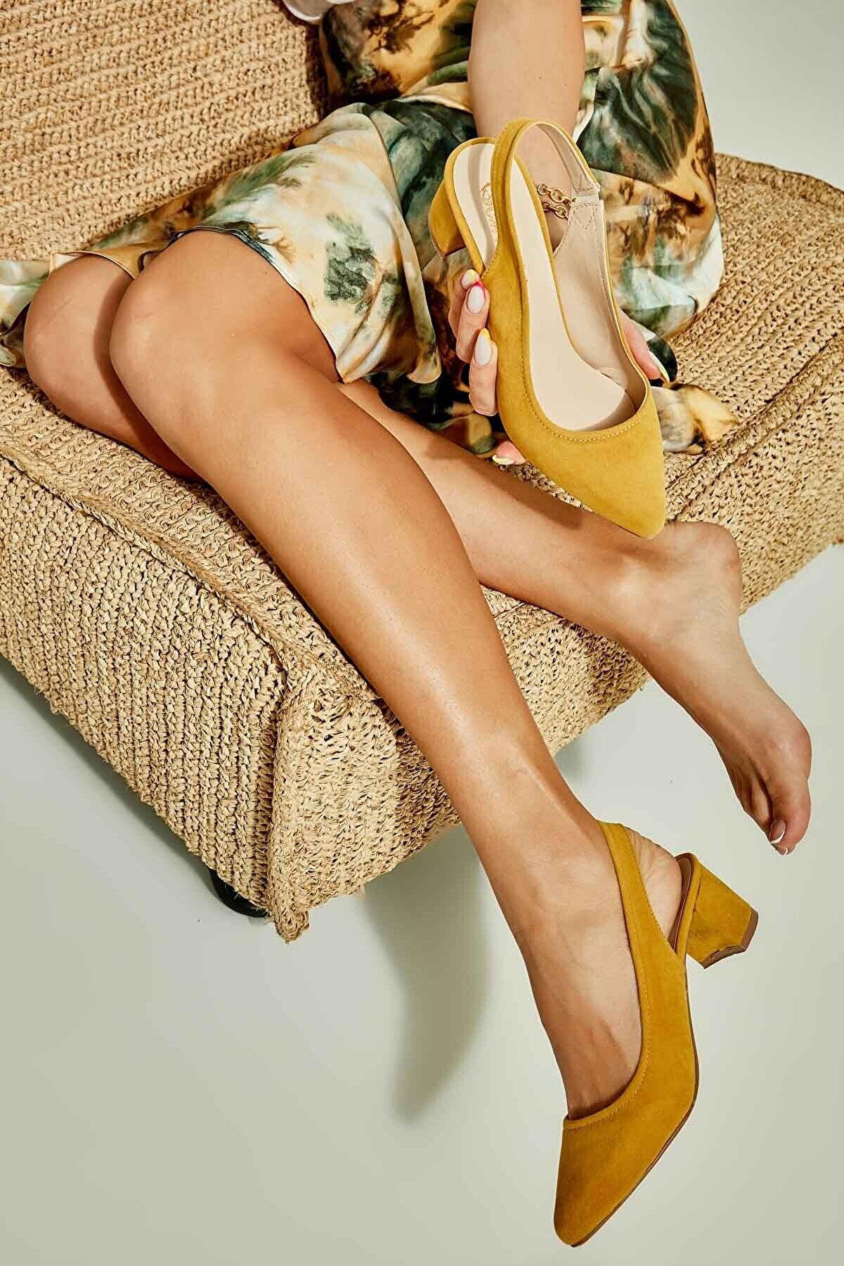 Bambi Sarı Süet Kadın Klasik Topuklu Ayakkabı K01503721072