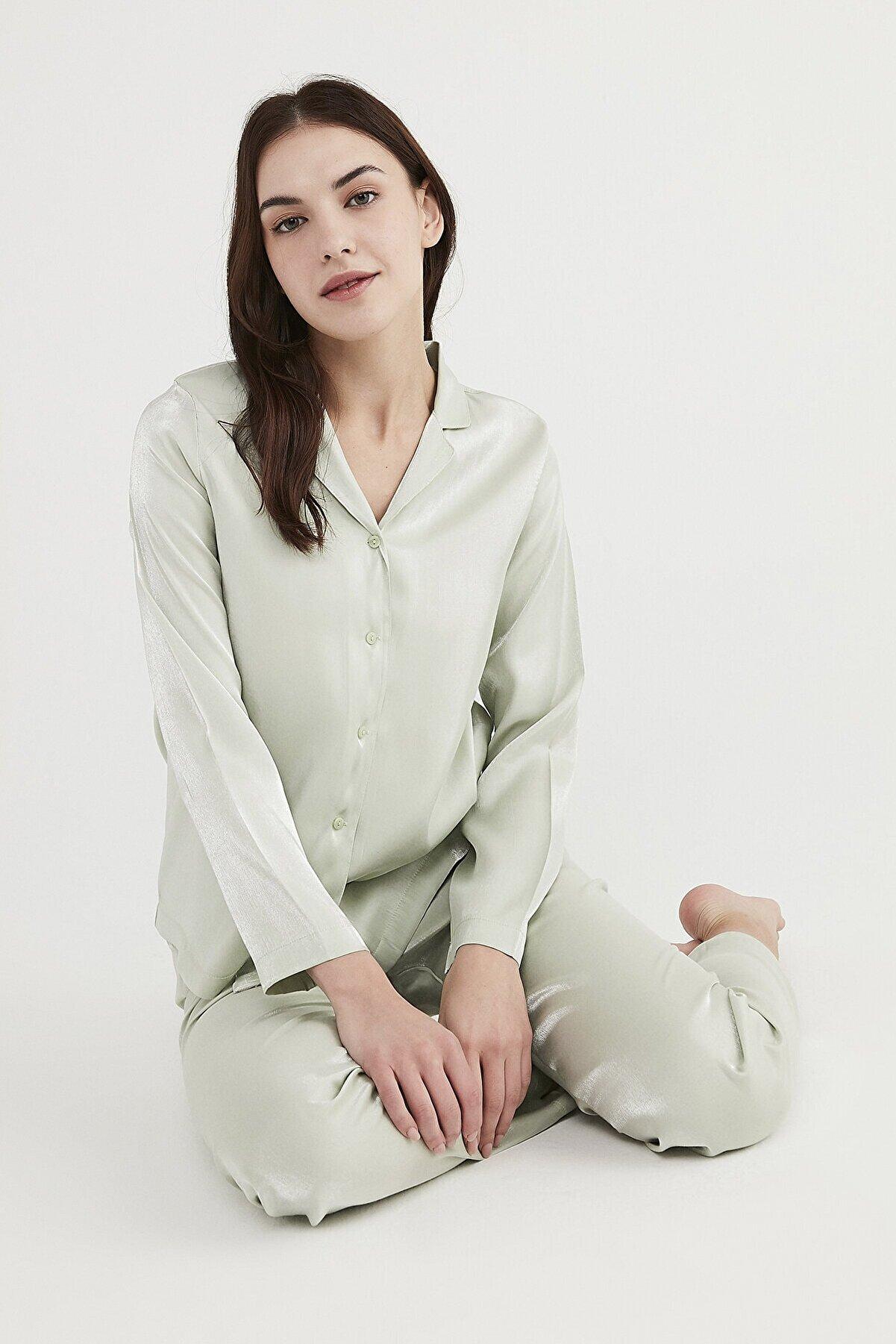 Penti Mint Saten Pijama Takımı