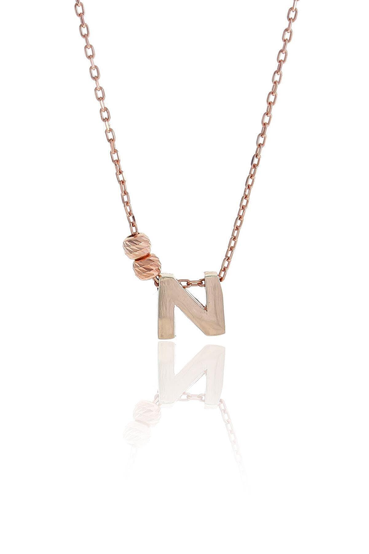 Sümer Telkari N Harfli Tasarım Rose Gümüş Kolye 3824