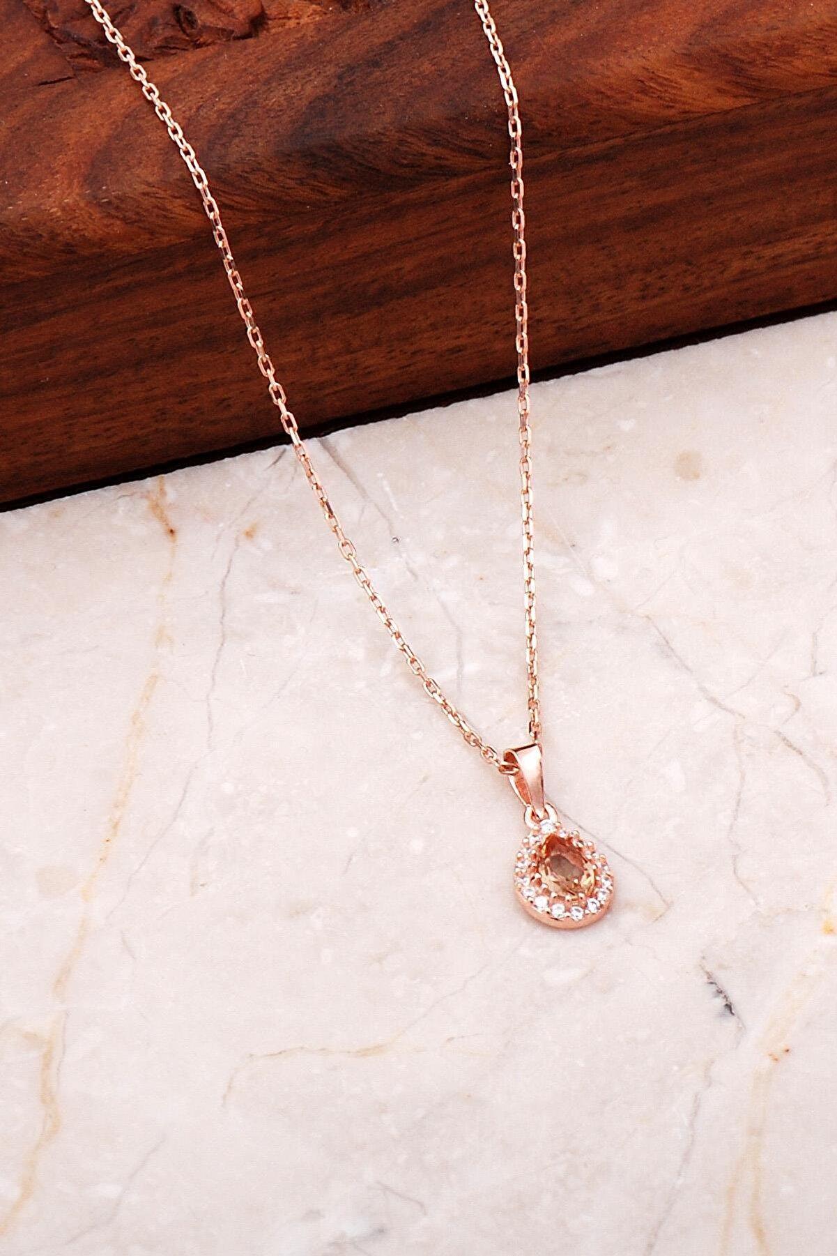 Sümer Telkari Renk Değiştiren Sultan Taşlı Rose Gümüş Mini Damla Kolye 7043