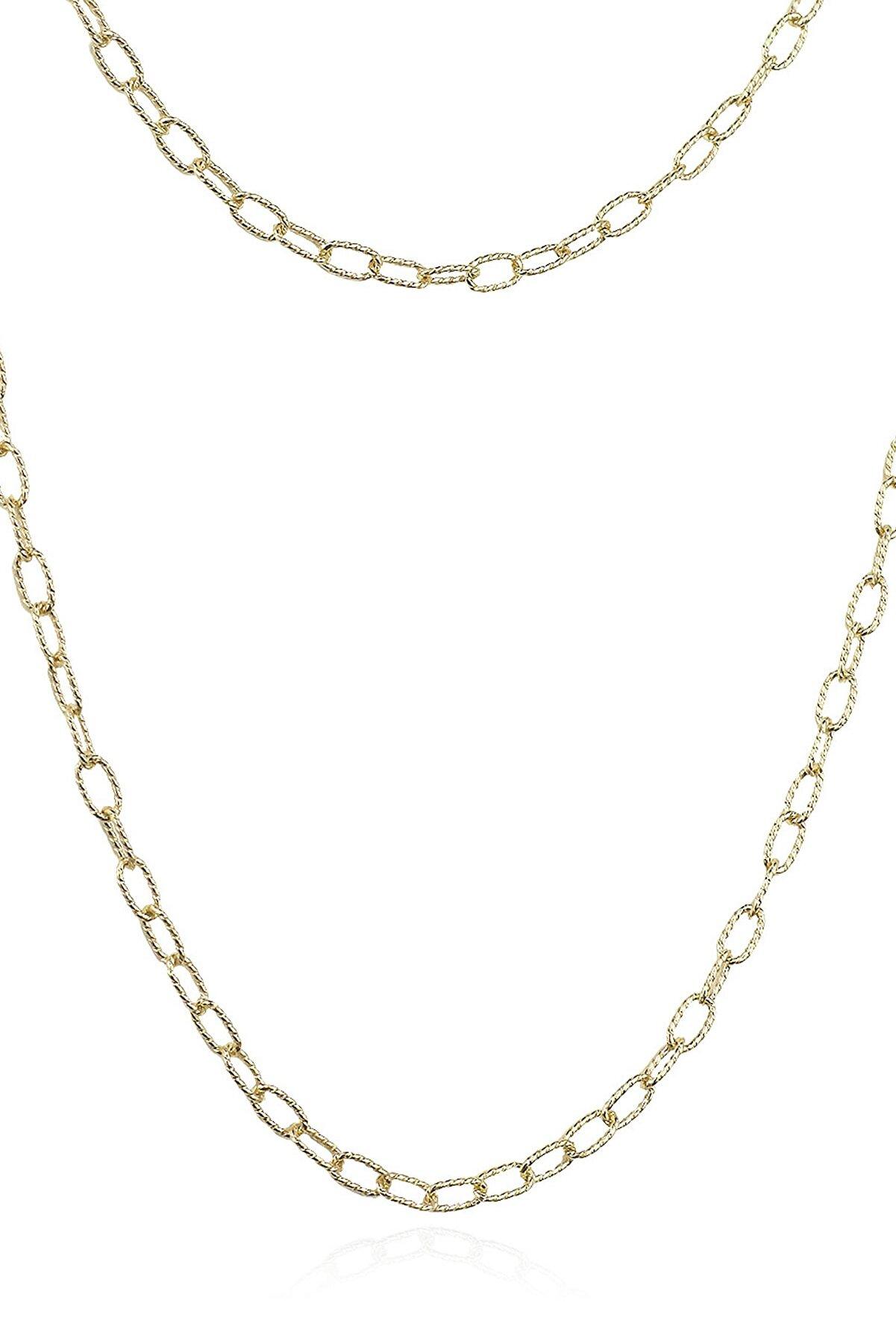 By Barun Silver Kadın Sarı Altın Oval Zincir Kolye