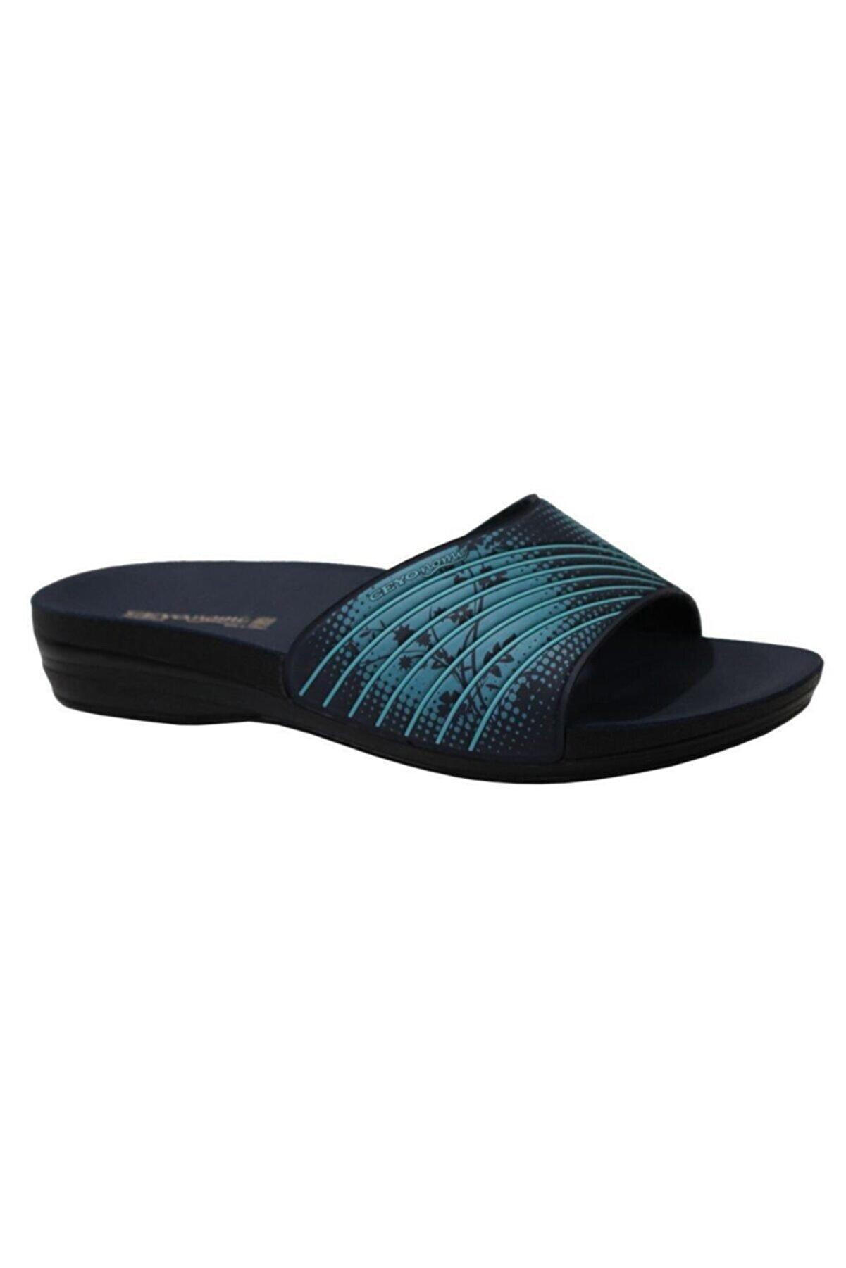 Ceyo Marina-5 Lacivert Ortapedik Bayan Terlik & Sandalet