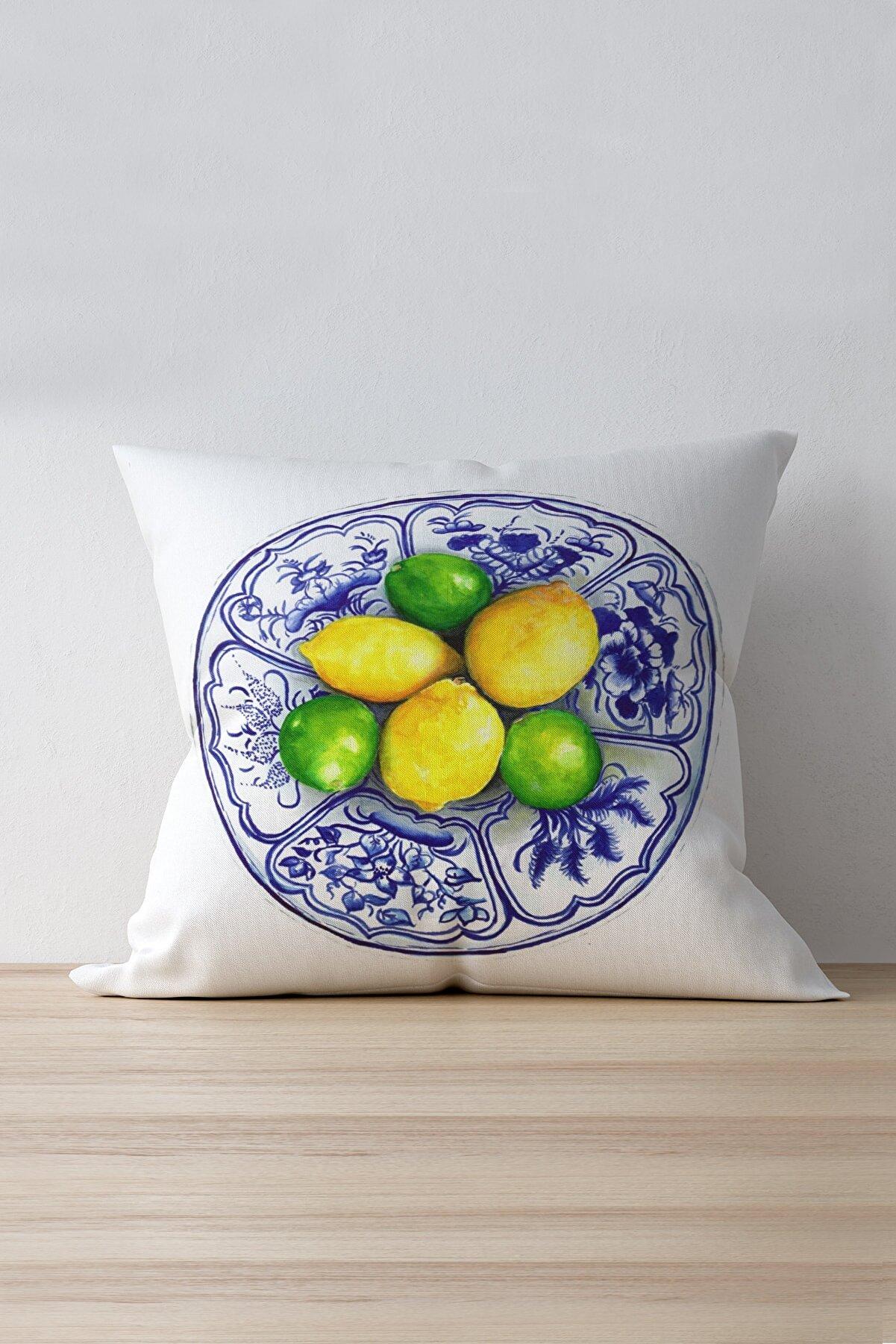 Cango Home Sarı Yeşil Limon Desenli Dijital Baskılı Kırlent Kılıfı - Oytyk904