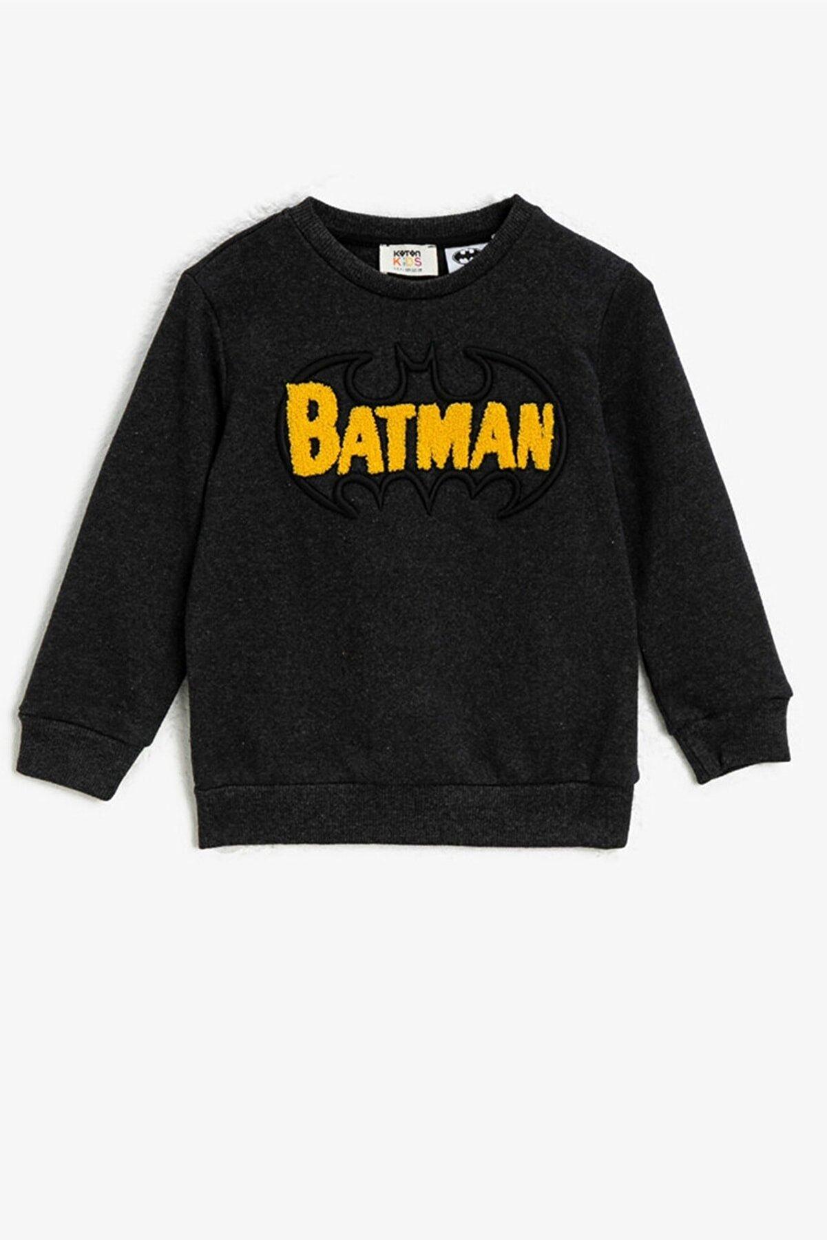 Koton Erkek Gri Batman Lisansli Islemeli Bisiklet Yaka Sweatshirt