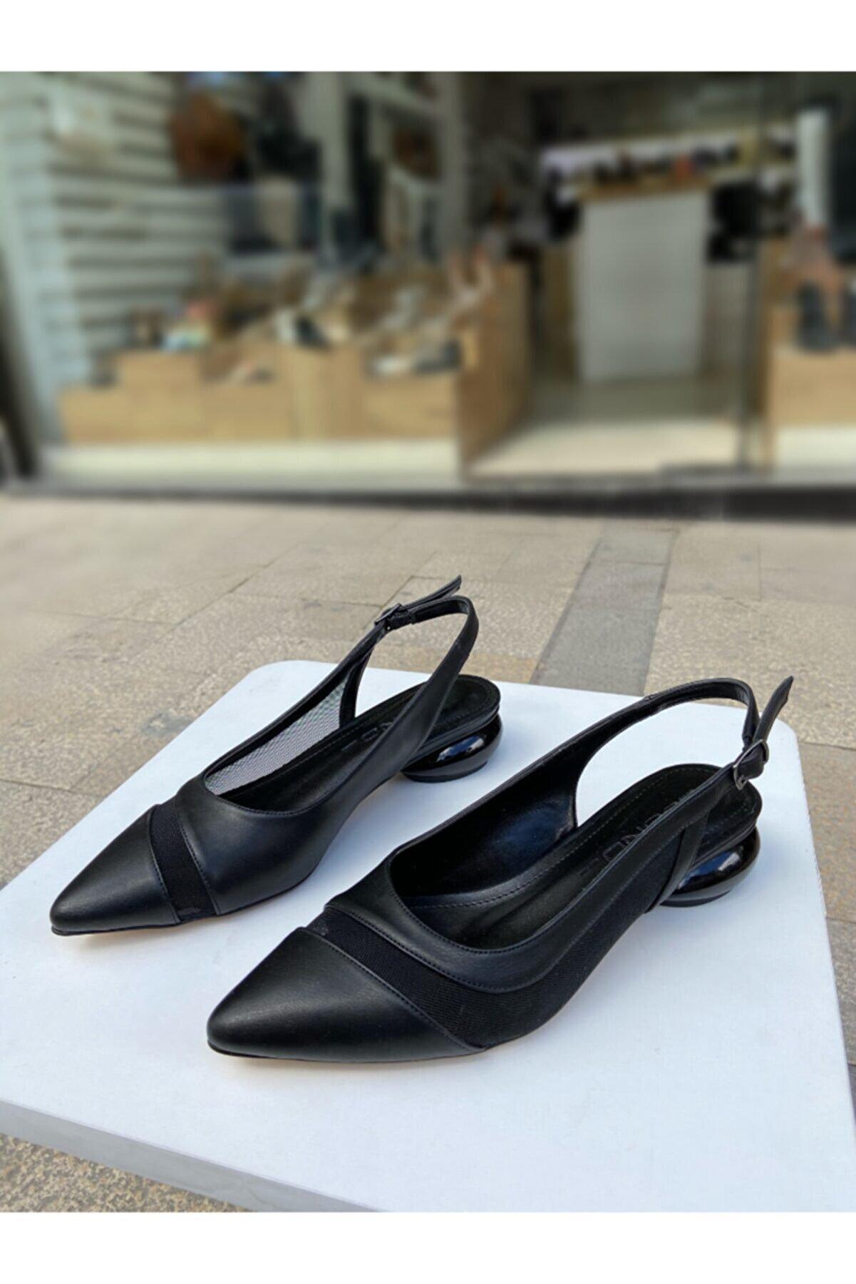gloriyshoes Siyah Cilt Tasarım Topuk Arkası Açık File Detaylı