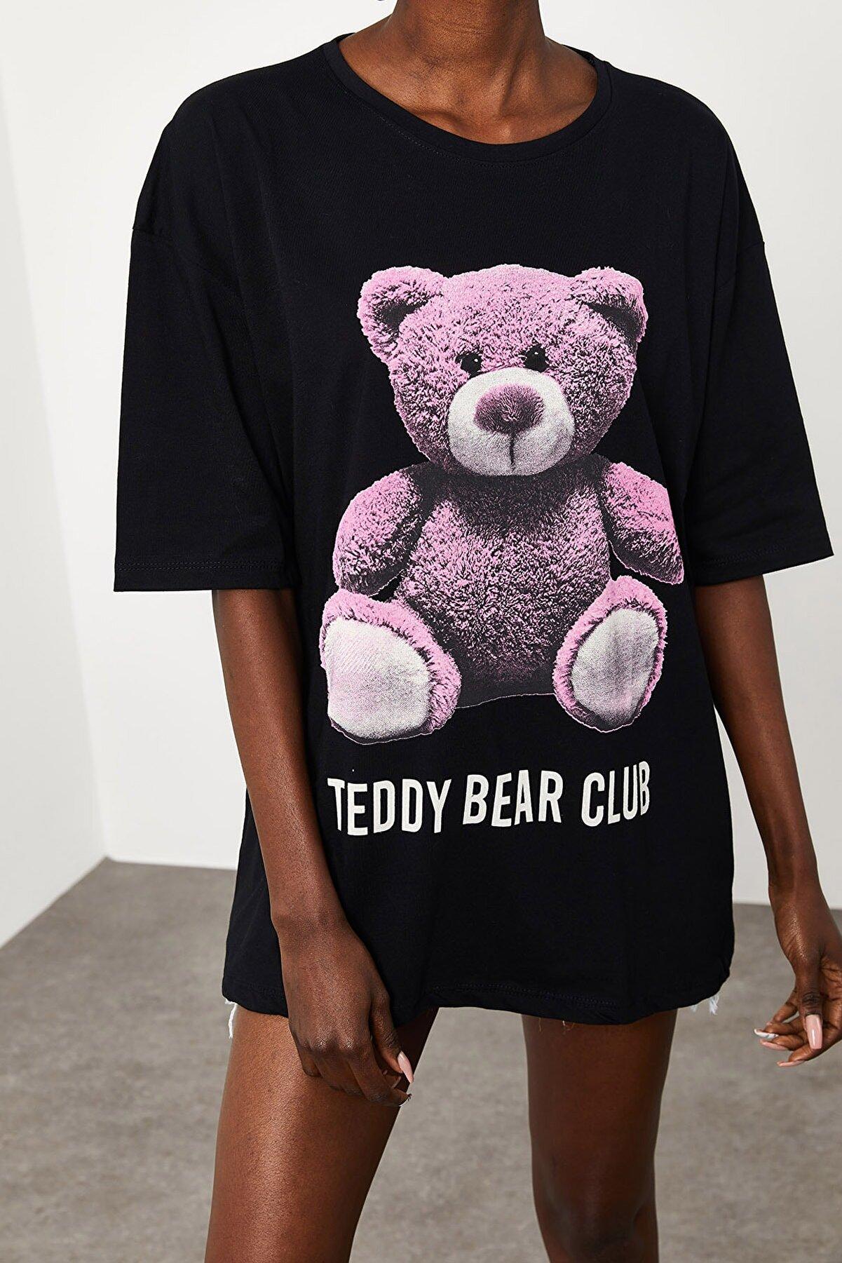 Xena Kadın Siyah Teddy Bear Baskılı Salaş T-Shirt 1KZK1-11552-02