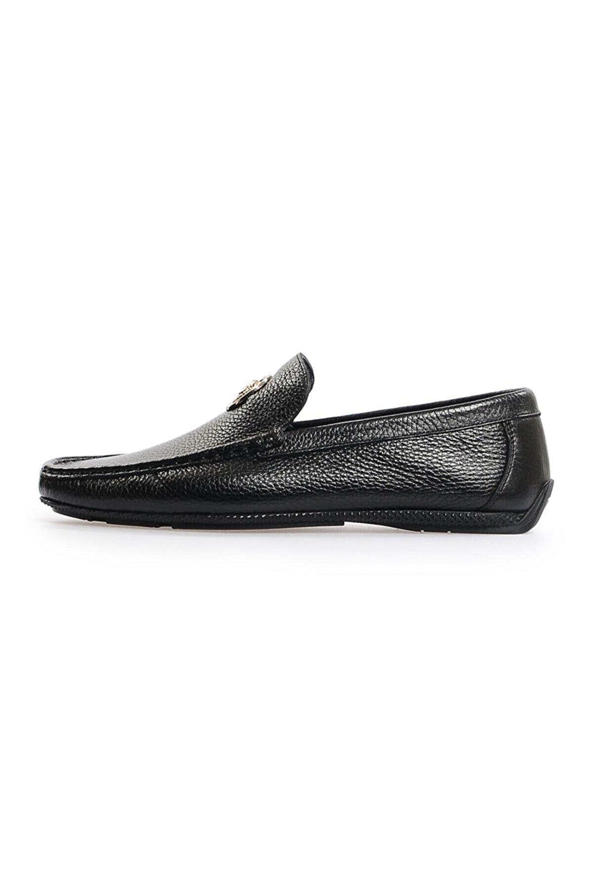 Flower Siyah Deri Toka Detaylı Loafer Ayakkabı