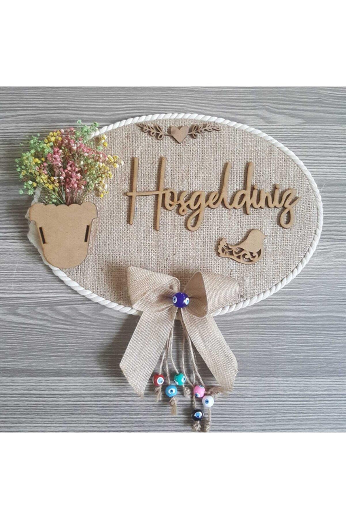 Baby Desing Trend Kapı Süsü Krem Jut Şoklanmış Kuru Çiçekli Dekoratif Çelik Kapı Süsü Nazar Boncuklu