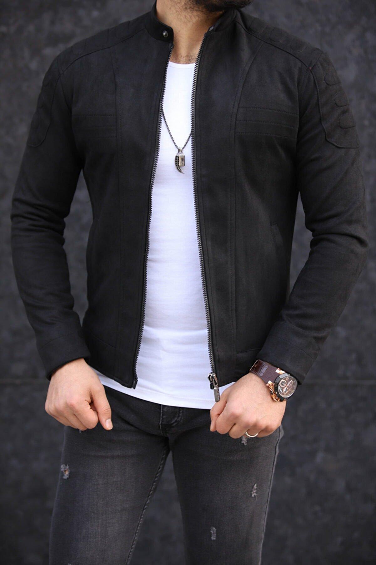 FAMODA Siyah Yakası Düğmeli Nubuk Ceket
