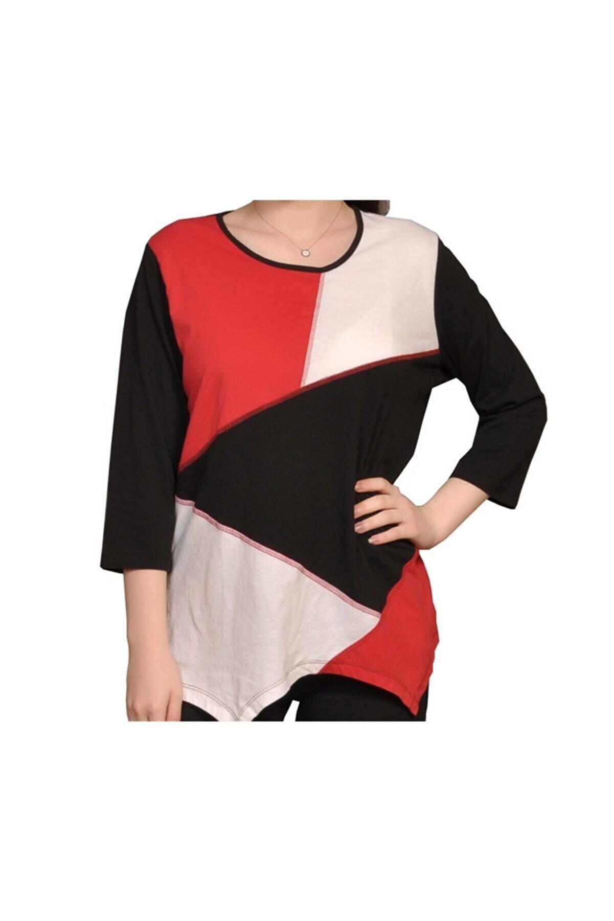 İsmet Tekstil Kadın Renk Bloklu Asimetrik Kesim Bluz