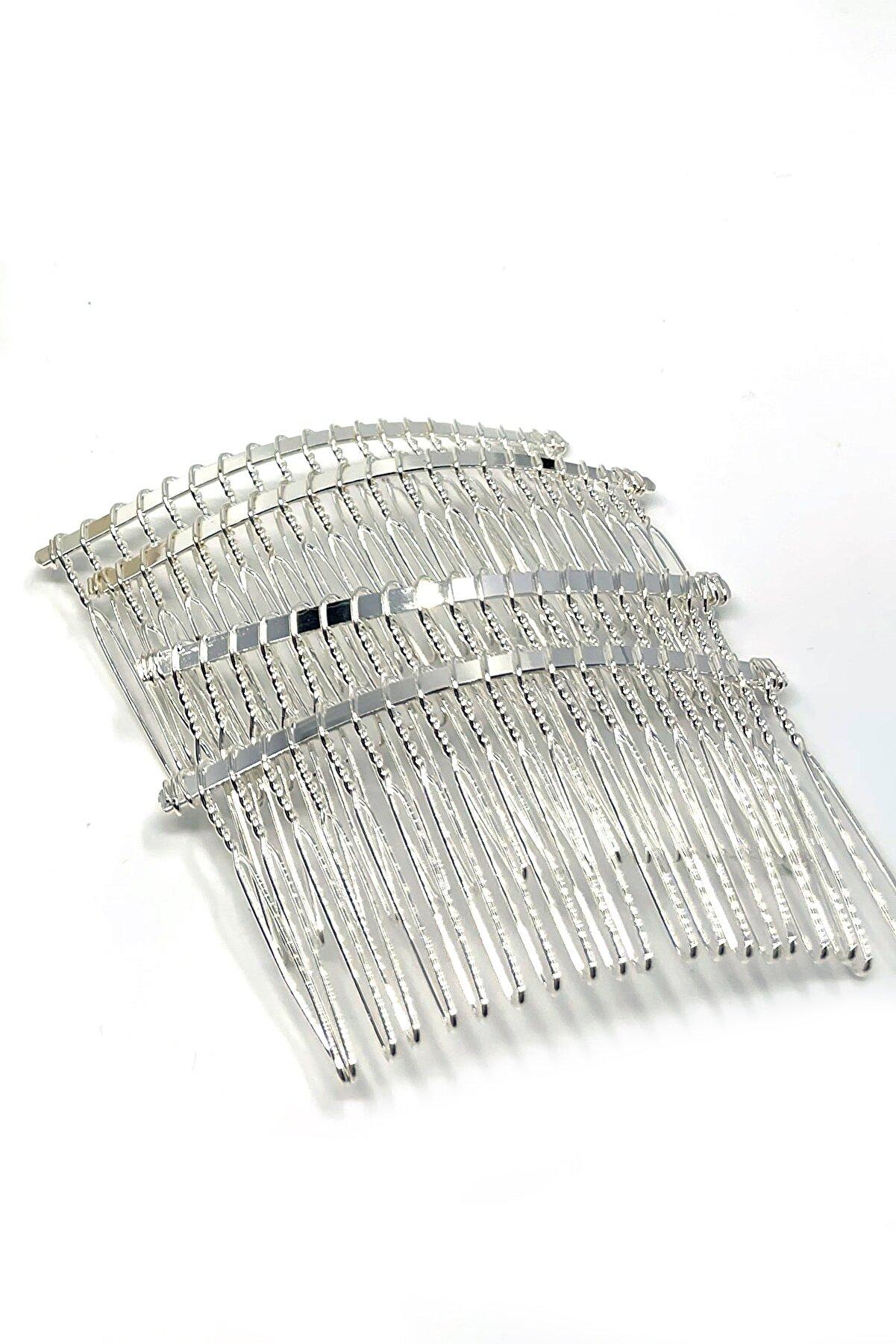 Tahtakaledeyim 20 Dişli Metal Tarak Toka Gümüş Renk 5 Adet