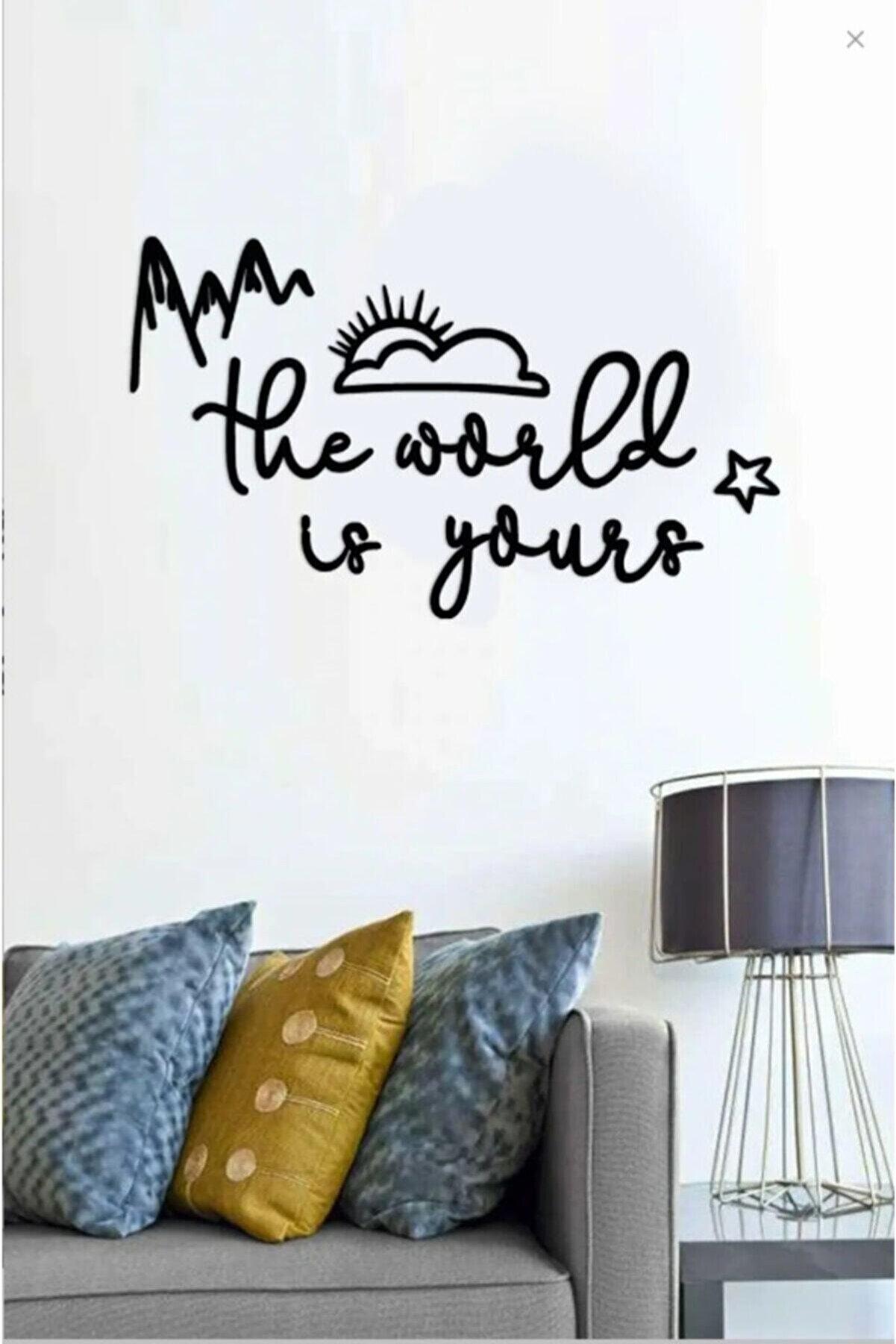 evdeucuz The World Is Yours Ahşap Duvar Yazısı