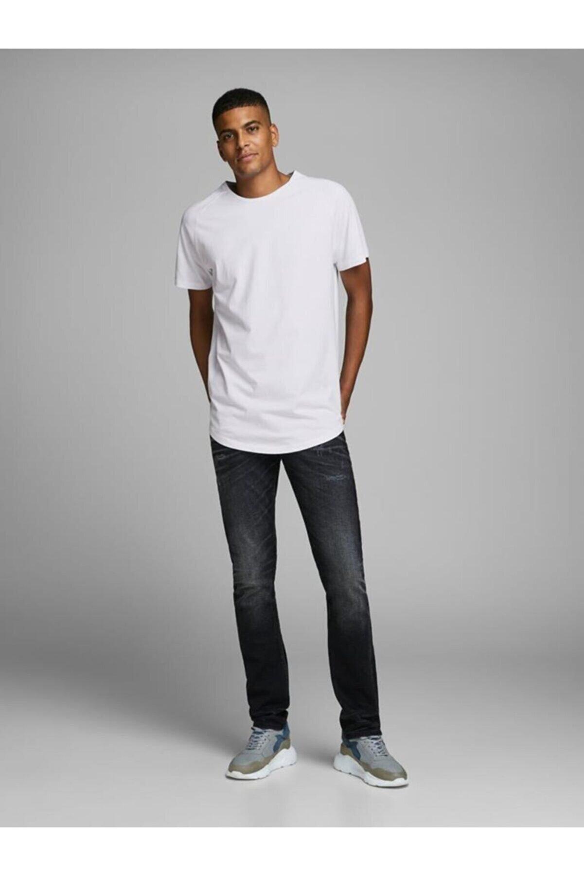 Jack & Jones Erkek Beyaz Jjecurved Tee Ss O-neck N  Kısa Kol T-shirt
