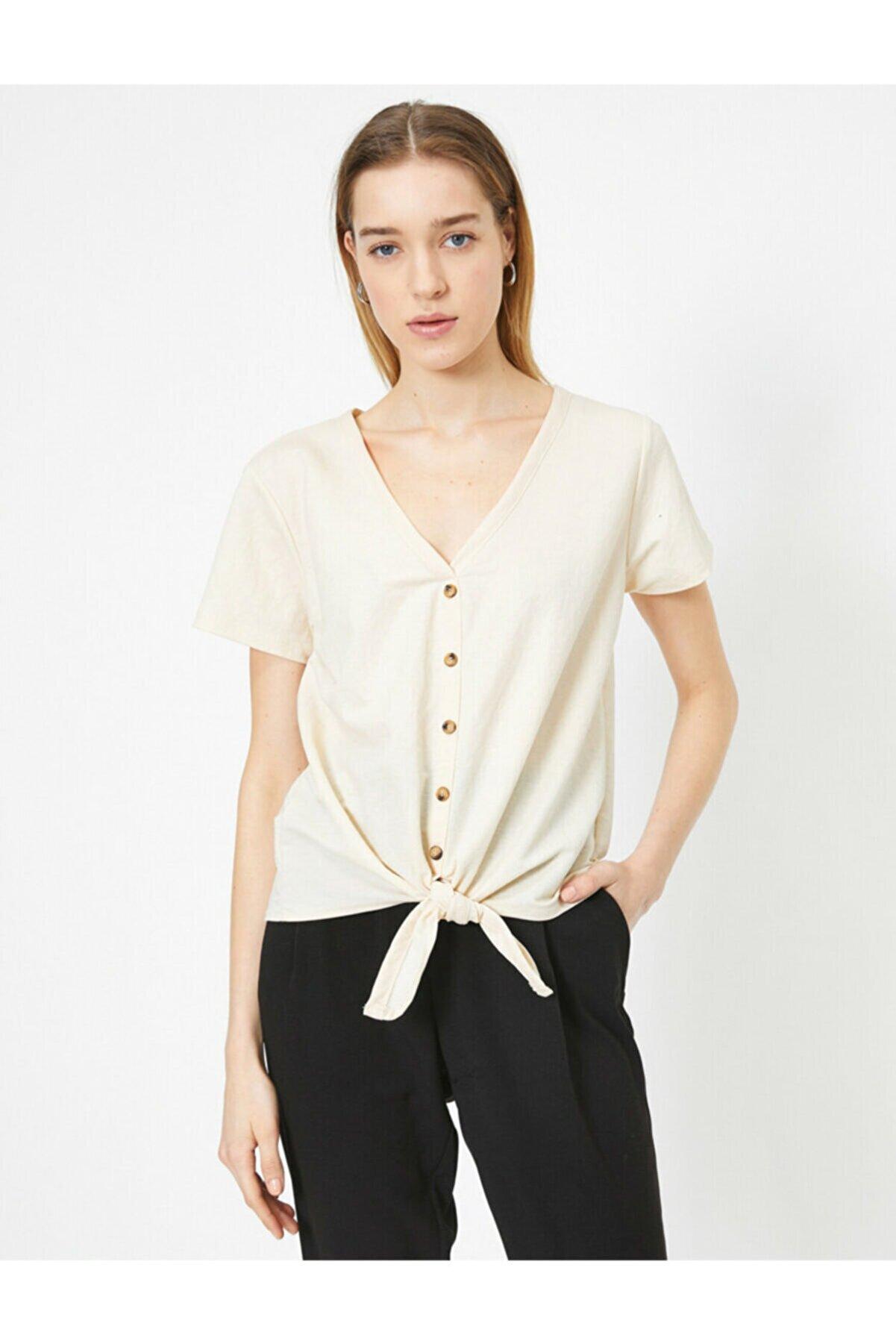 Koton Kadın Ekru T-Shirt