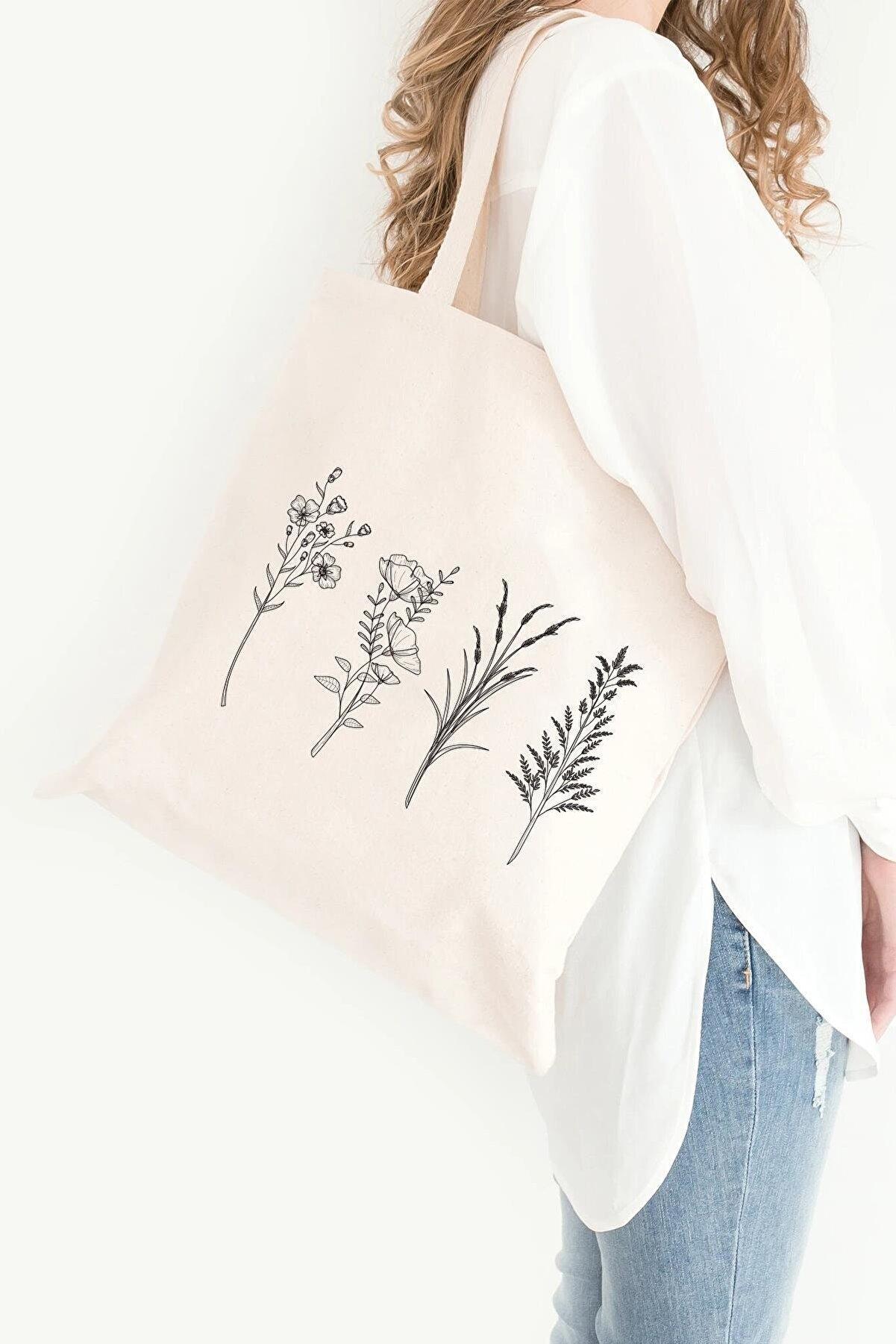 Çınar Bez Çanta 4 Dallı Çiçek Baskılı Ham Bez Çanta