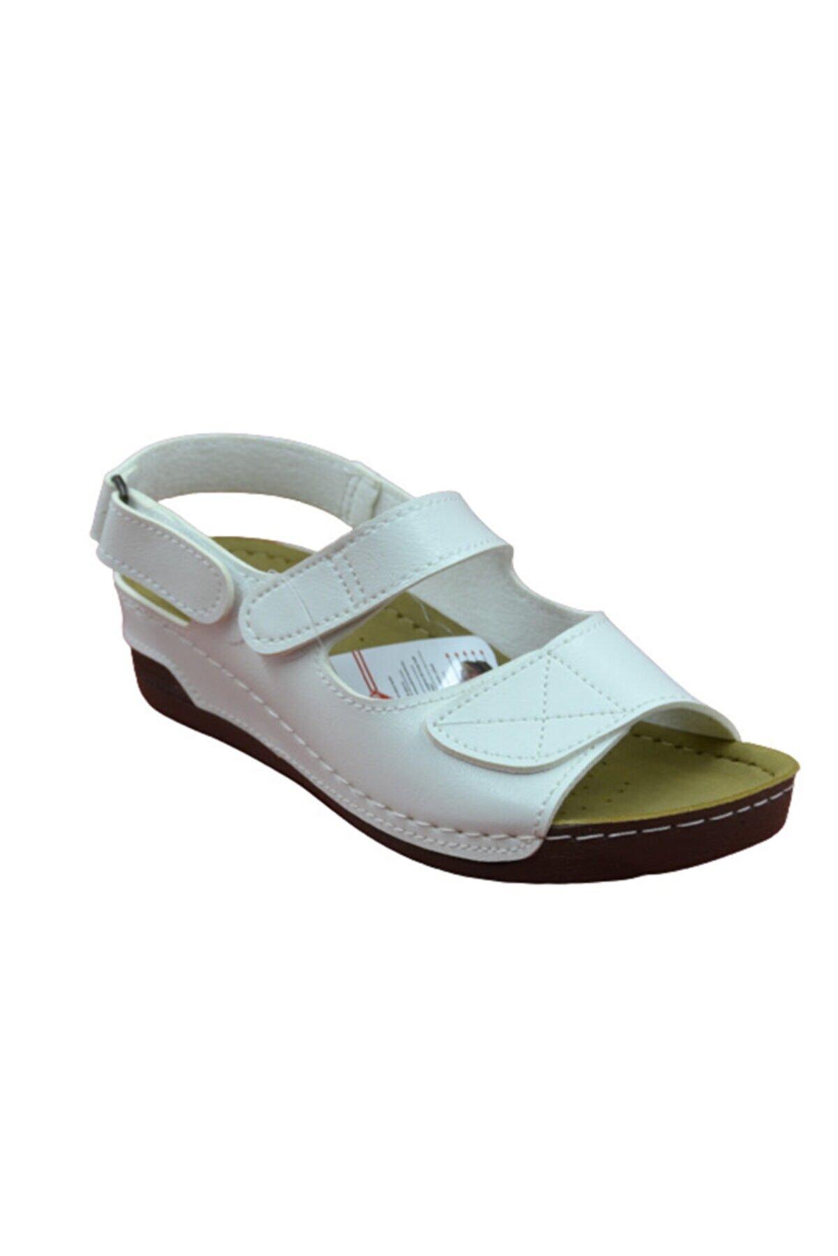 ARYAN Kadın Beyaz Günlük Cırtlı Anatomik Sandalet 02-010