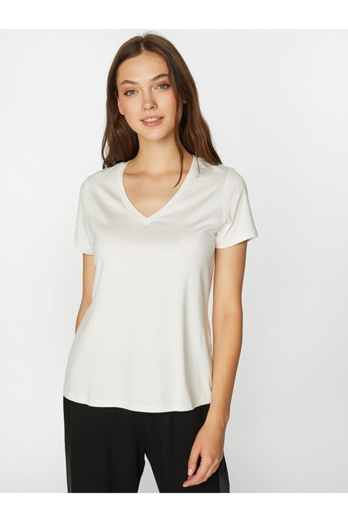 Faik Sönmez Kadın Ekru V Yaka Kısa Kol T-shirt