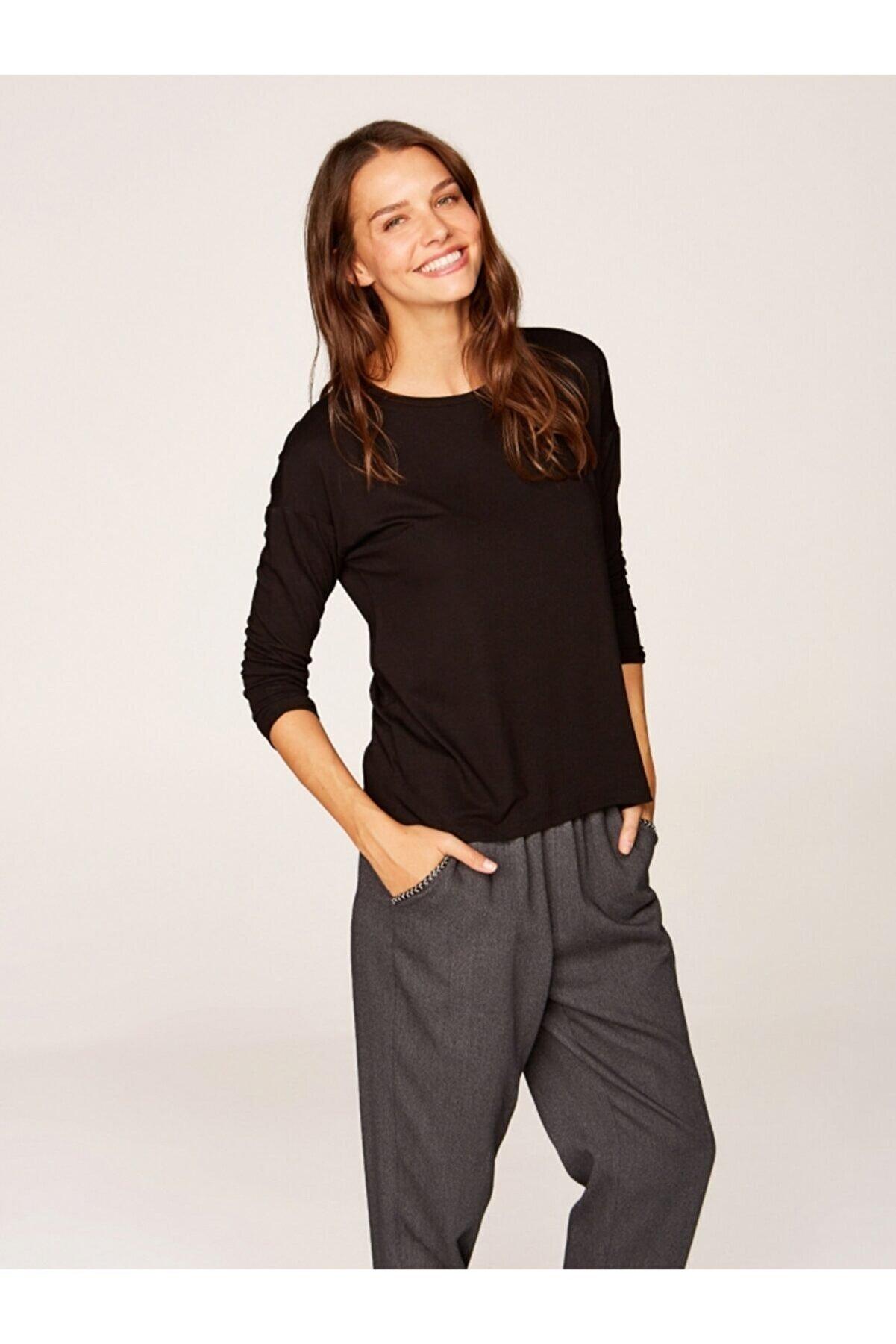 Faik Sönmez Kadın Siyah Yuvarlak Yaka Uzun Kol T-shirt 00019