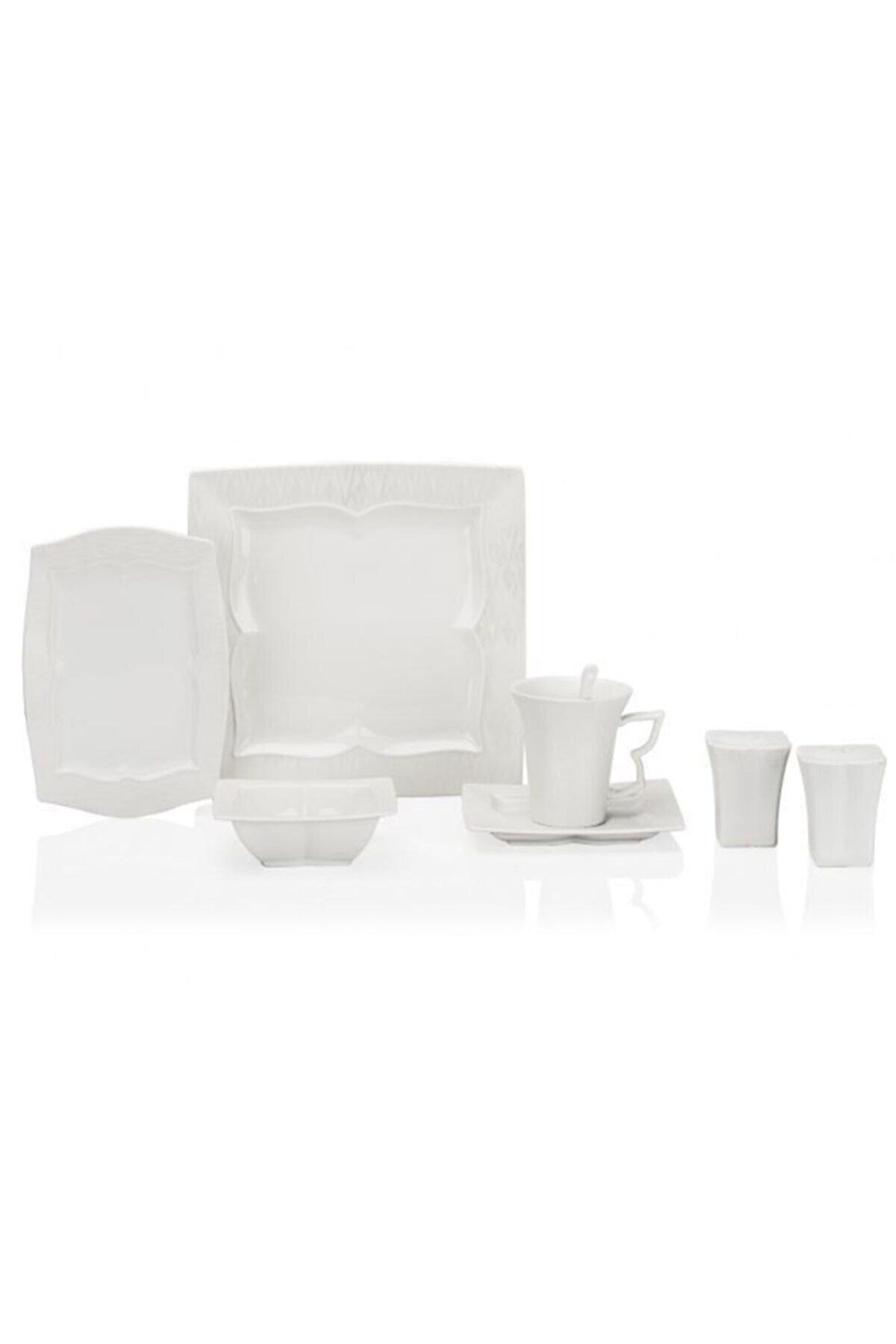 Taç Beyaz 32 Parça Kare Kahvaltı Takımı
