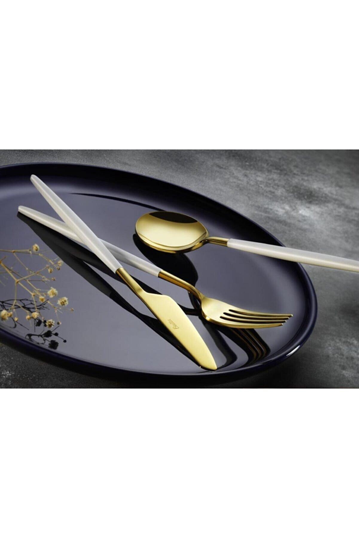 Batta Parlak Gold Beyaz Tatlı Çatal Kaşık Bıçak Takımı 8000 Model 6 Kişilik 18 Parça